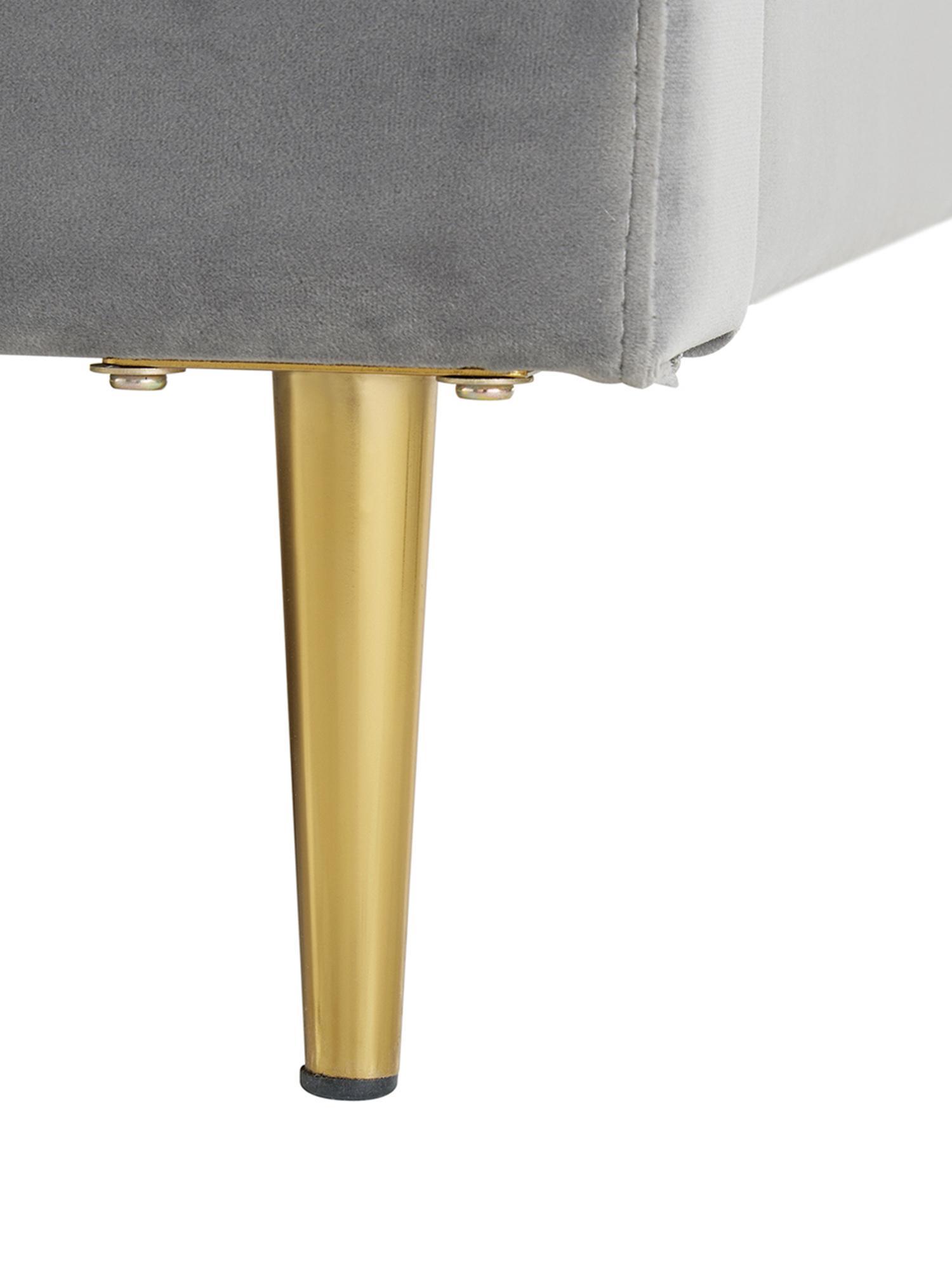 Cama tapizada en terciopelo Glamour, Estructura: madera de pino maciza, Patas: metal, latón, Tapizado: terciopelo (poliéster) 10, Gris, dorado, 160 x 200 cm