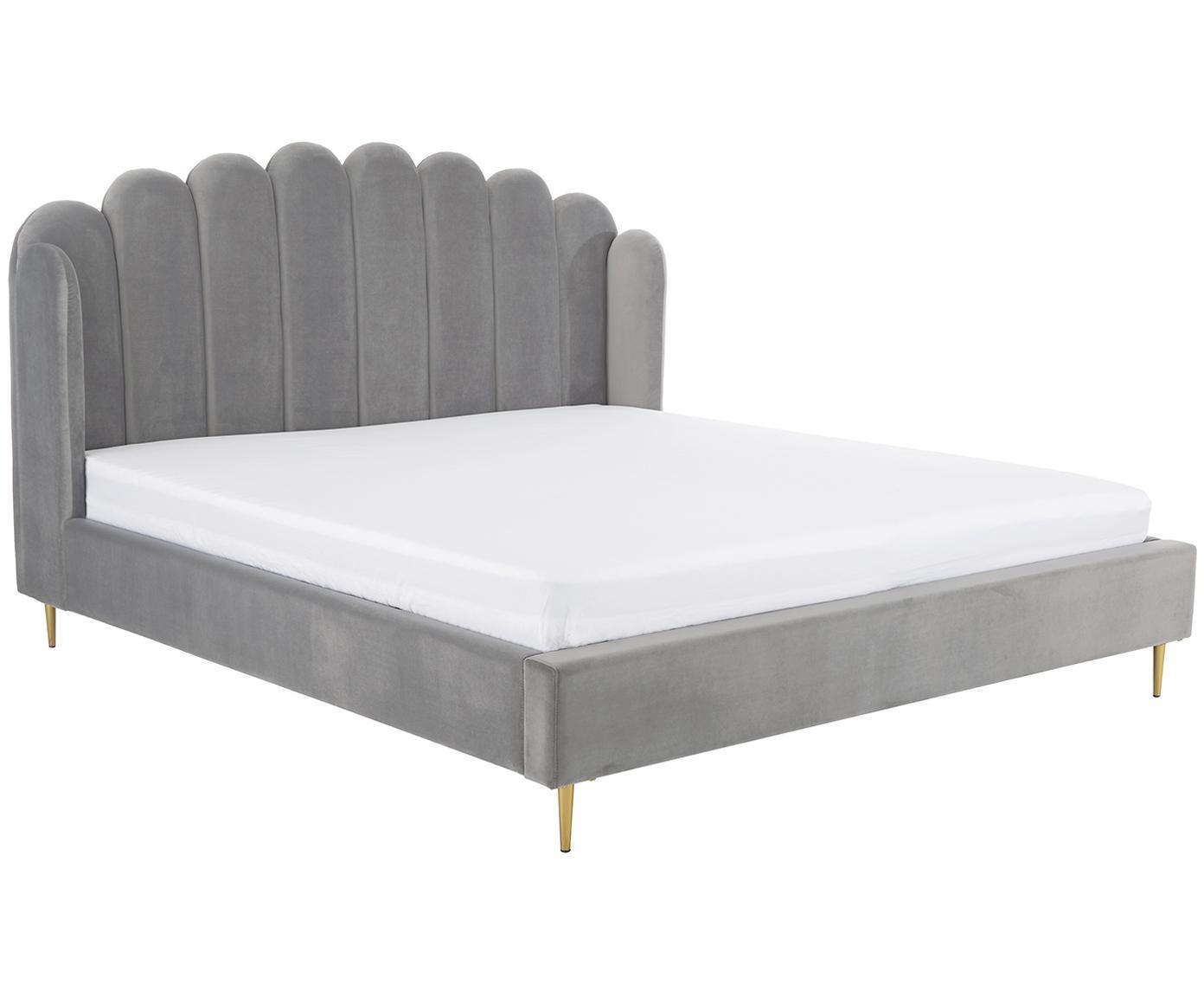 Łóżko tapicerowane z aksamitu Glamour, Korpus: lite drewno sosnowe, Nogi: metal mosiądzowany, Tapicerka: aksamit (poliester) 100 0, Tapicerka: szary Nogi: odcienie złotego, błyszczący, 160 x 200 cm