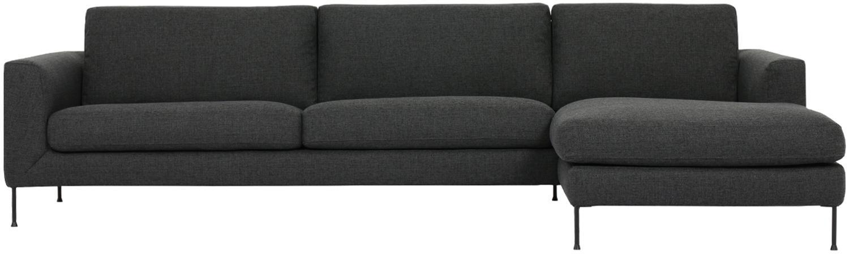 Sofa narożna Cucita (4-osobowa), Tapicerka: tkanina (poliester) Tkani, Stelaż: lite drewno sosnowe, Nogi: metal malowany proszkowo, Antracytowy, S 302 x G 163 cm