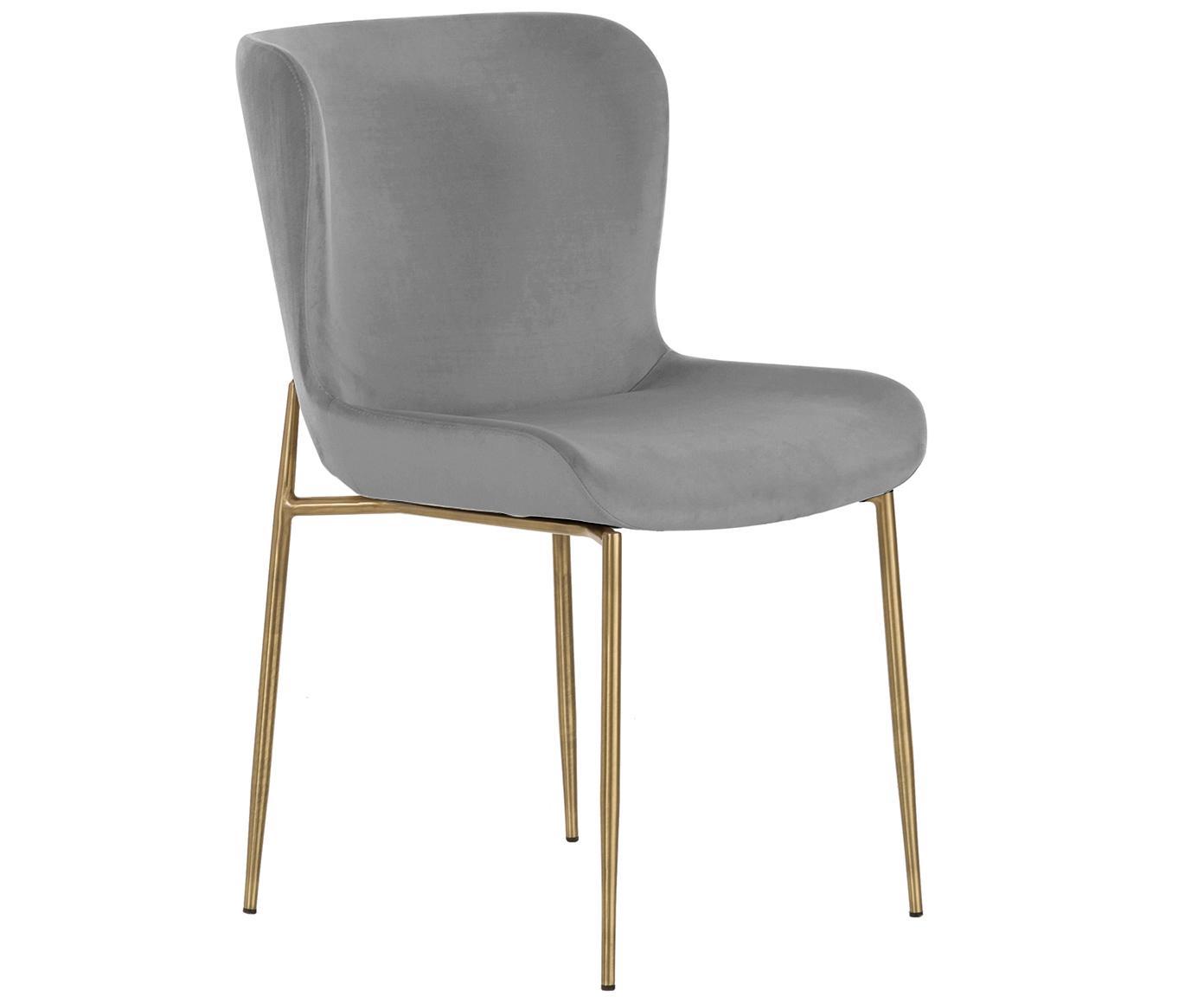 Sedia imbottita in velluto Tess, Rivestimento: velluto (poliestere) 30.0, Gambe: metallo verniciato a polv, Velluto grigio, Larg. 49 x Prof. 64 cm