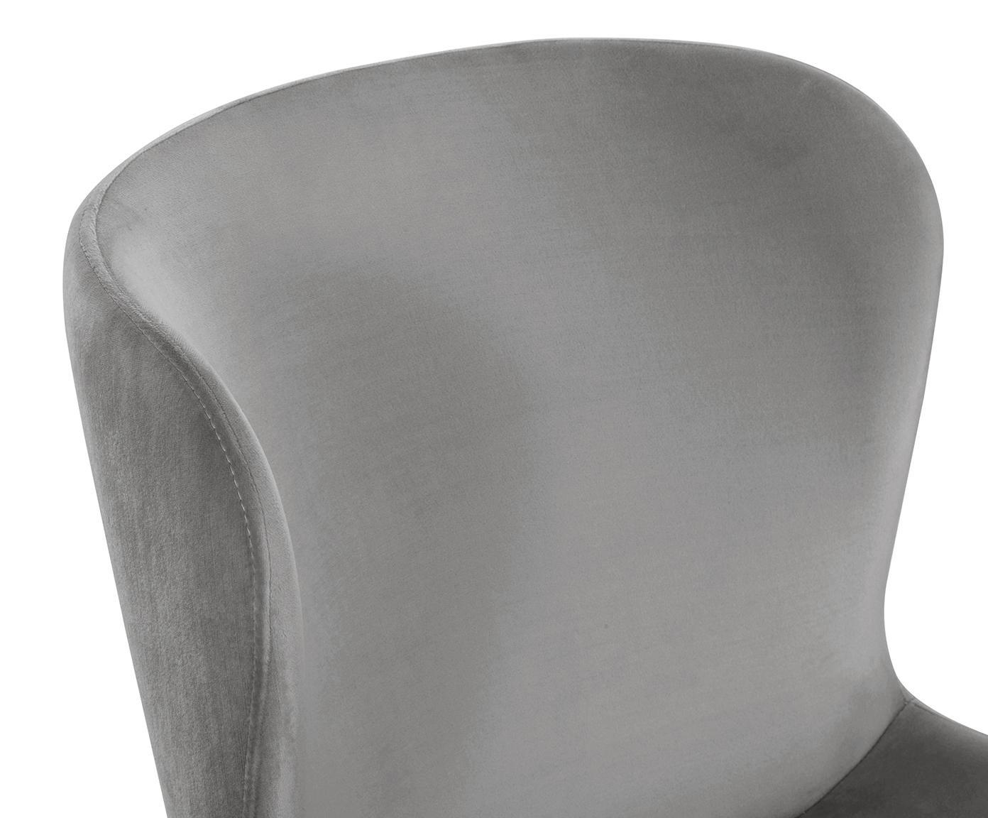 Chaise velours rembourré Tess, Velours gris, pieds or
