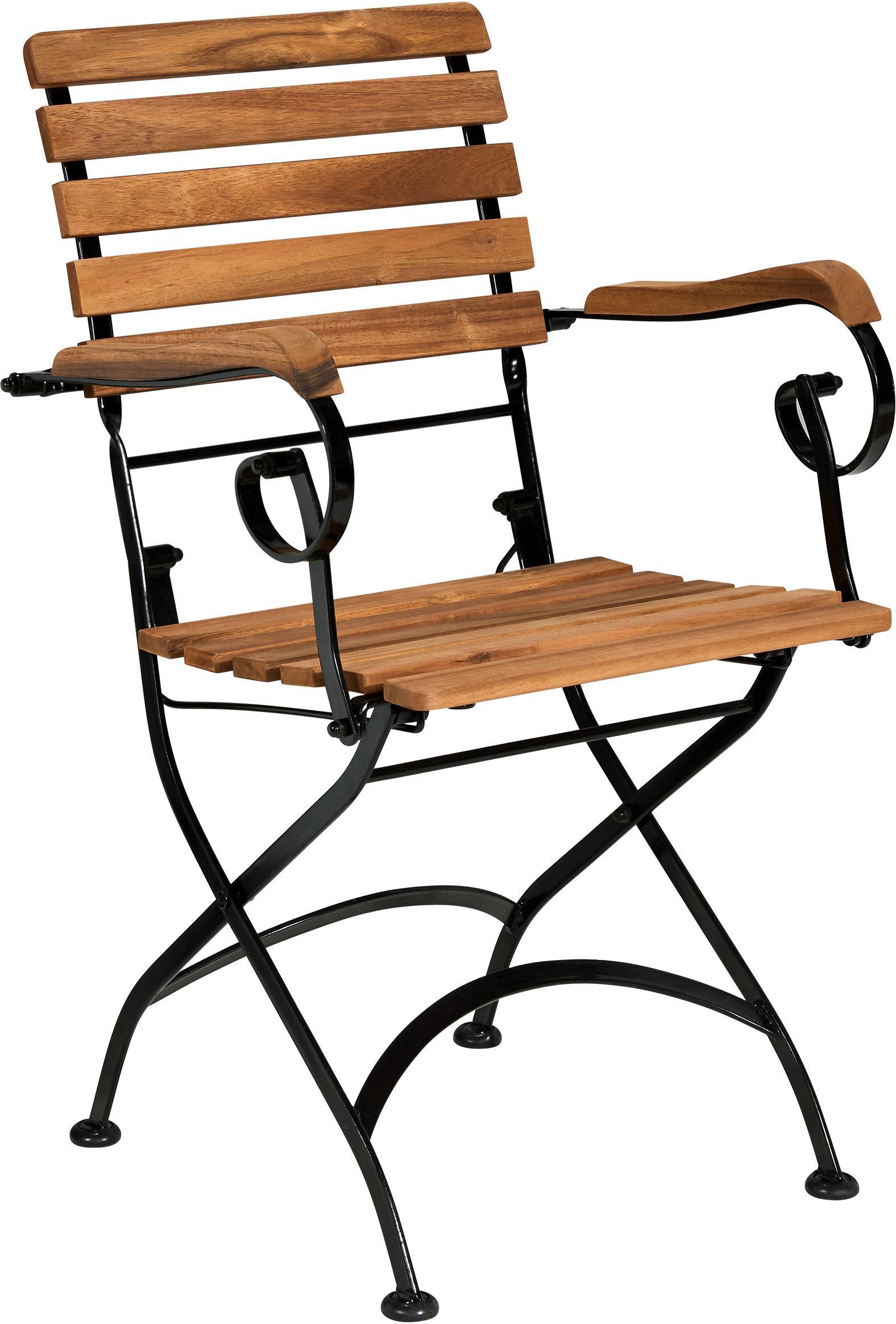 Sillas plegables con reposabrazos de exterior Parklife, 2uds., Asiento: madera de acacia aceitada, Estructura: metal galvanizado con pin, Negro, madera de acacia, An 59x F 52 cm