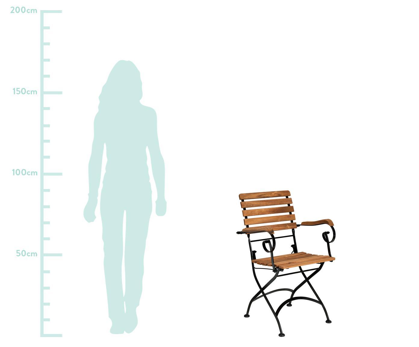 Garten-Klappstühle Parklife mit Armlehnen, 2 Stück, Sitzfläche: Akazienholz, geölt, Gestell: Metall, verzinkt, pulverb, Schwarz, Akazienholz, B 59 x T 52 cm