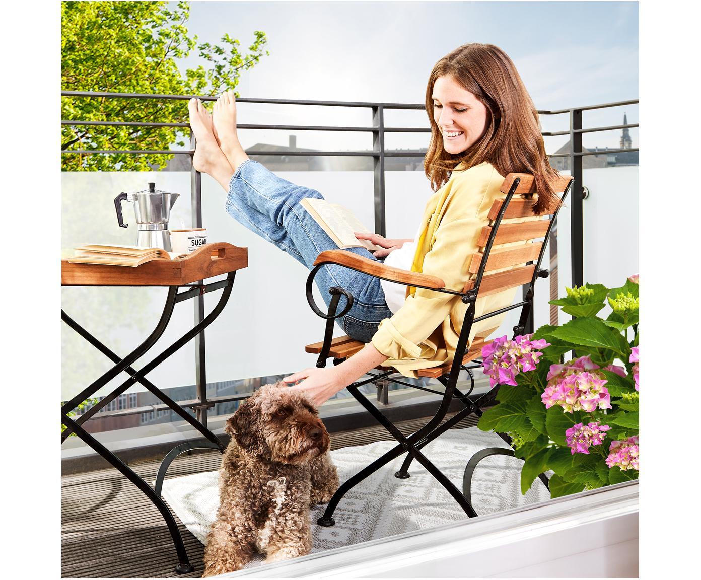 Składane krzesło ogrodowe z podłokietnikami Parklife, 2 szt., Stelaż: metal ocynkowany, malowan, Stelaż: czarny, matowy Korpus: drewno akacjowe, S 59 x G 52 cm
