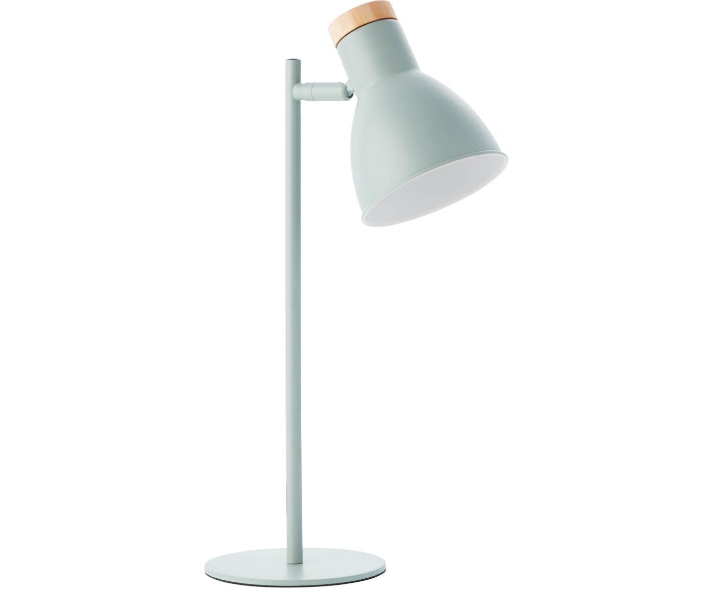 Tafellamp Venea mat, Lampenkap: metaal, Decoratie: hout, Mintgroen, houtkleurig, Ø 15 cm
