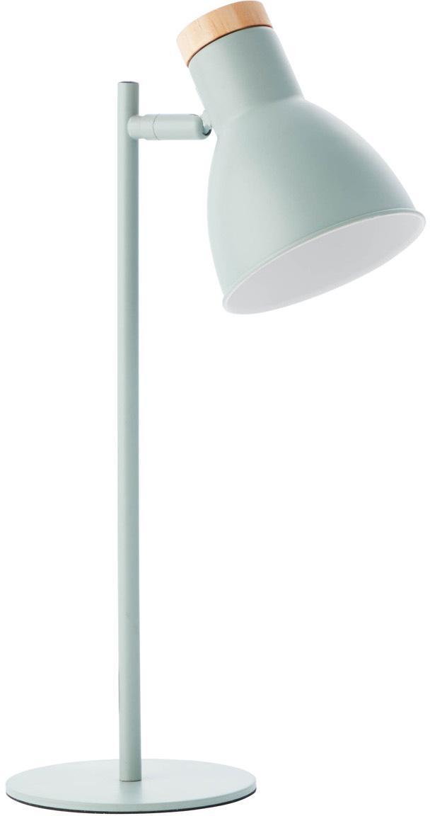 Lámpara de escritorio Venea, Pantalla: metal, Base de la lámpara: metal, Cable: cubierto en tela, Verde menta, madera, Ø 15 x Al 47 cm