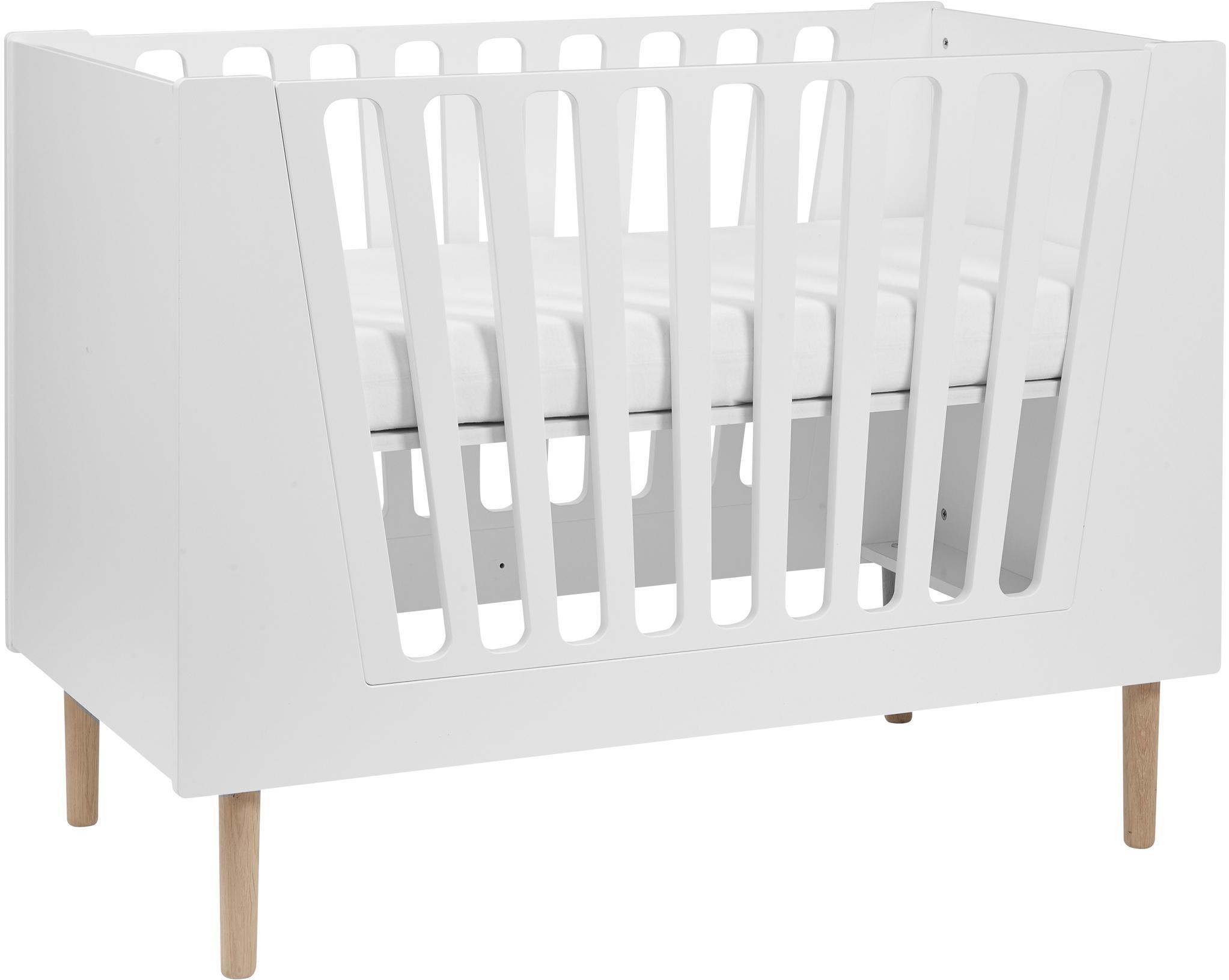 Łóżeczko dziecięce Sleep Tight, Nogi: drewno naturalne, Biały, S 125 x W 92 cm