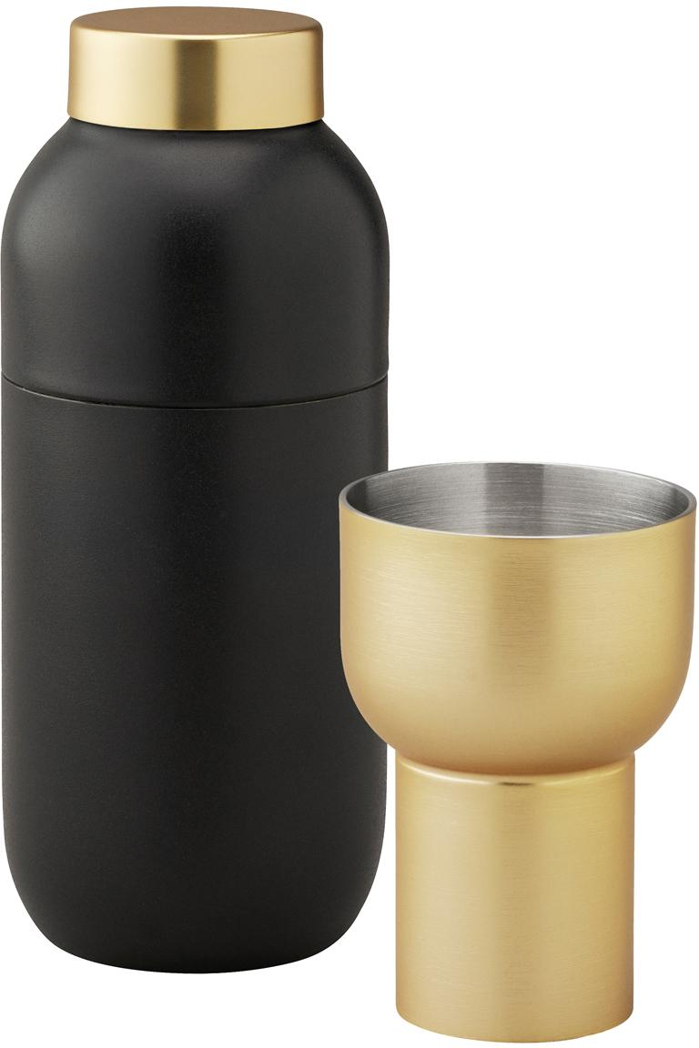 Cocktail-Set Collar, 2-tlg. in Schwarz/Gold, Shaker: Edelstahl teflonbeschicht, Messbecher: Messing, Schwarz, Ø 8 x H 20 cm