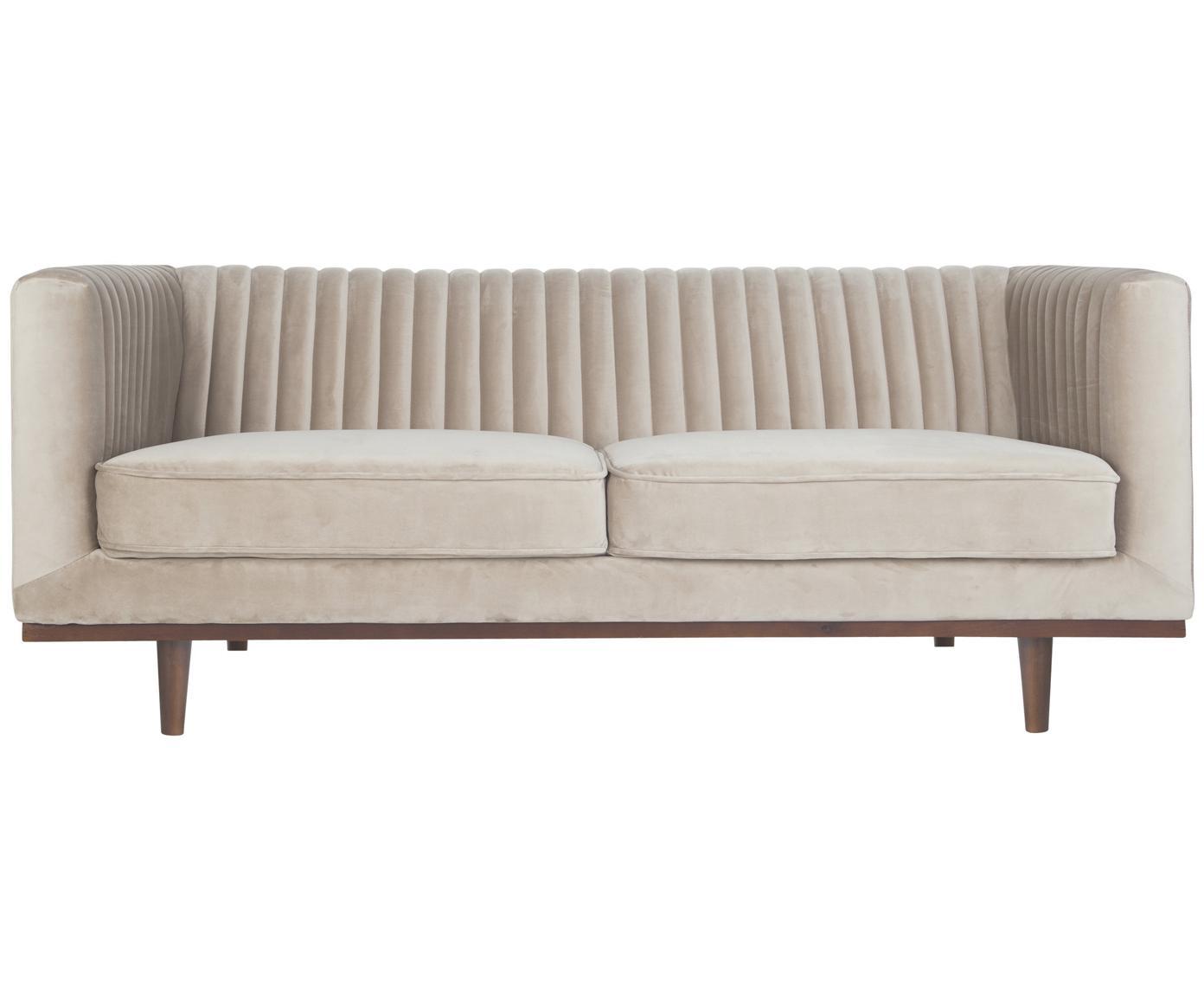 Fluwelen bank Dante (2-zits), Bekleding: polyesterfluweel, Frame: gelakt rubberhout, Beige, B 174 x D 87 cm