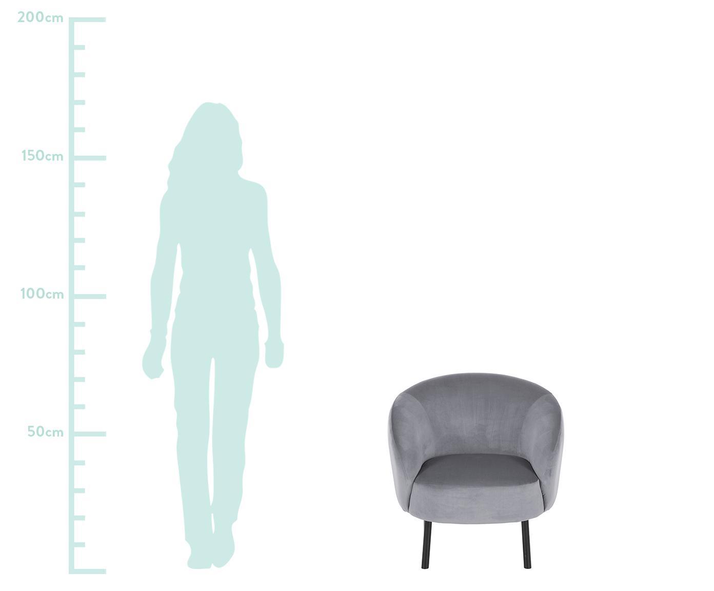 Samt-Cocktailsessel Freja, Bezug: Samt (Polyester) 30.000 S, Füße: Metall, pulverbeschichtet, Samt Grau, B 65 x T 72 cm