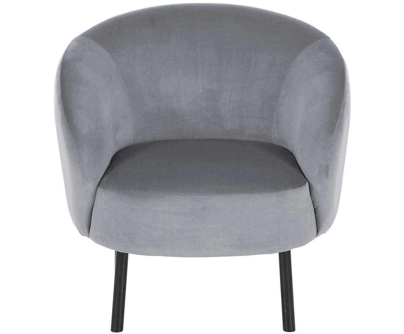 Fotel z aksamitu Freja, Tapicerka: aksamit (poliester) 30 00, Nogi: metal malowany proszkowo, Tapicerka: szary Nogi: czarny, matowy, S 65 x G 72 cm