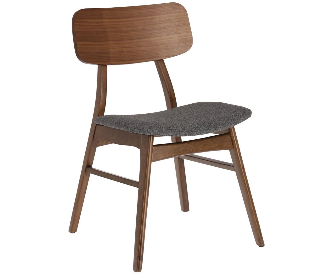 Holzstühle Selia, 2 Stück, Gestell: Massives Gummibaumholz, W, Bezug: Polyester, Dunkelgrau, Walnuss, 48 x 79 cm