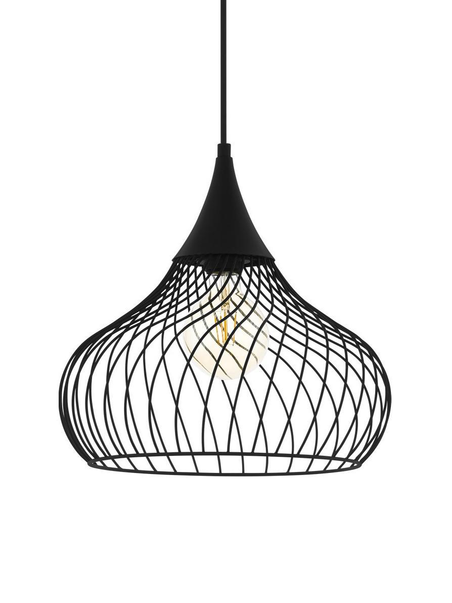 Hanglamp Staverton van gedraaid metaal, Lampenkap: gelakt metaal, Baldakijn: gelakt metaal, Zwart, Ø 37 cm