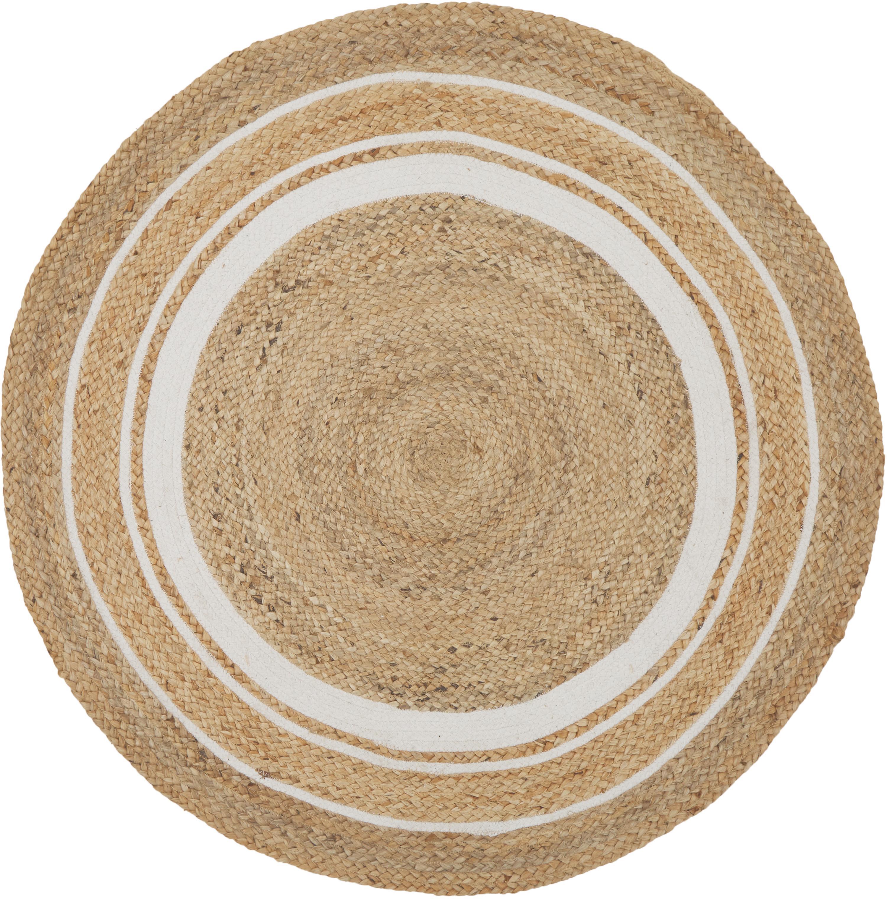 Handgemaakte jute vloerkleed Clover, 75% jute, 24% katoen, 1% polyester, Beige, wit, Ø 120 cm (maat S)