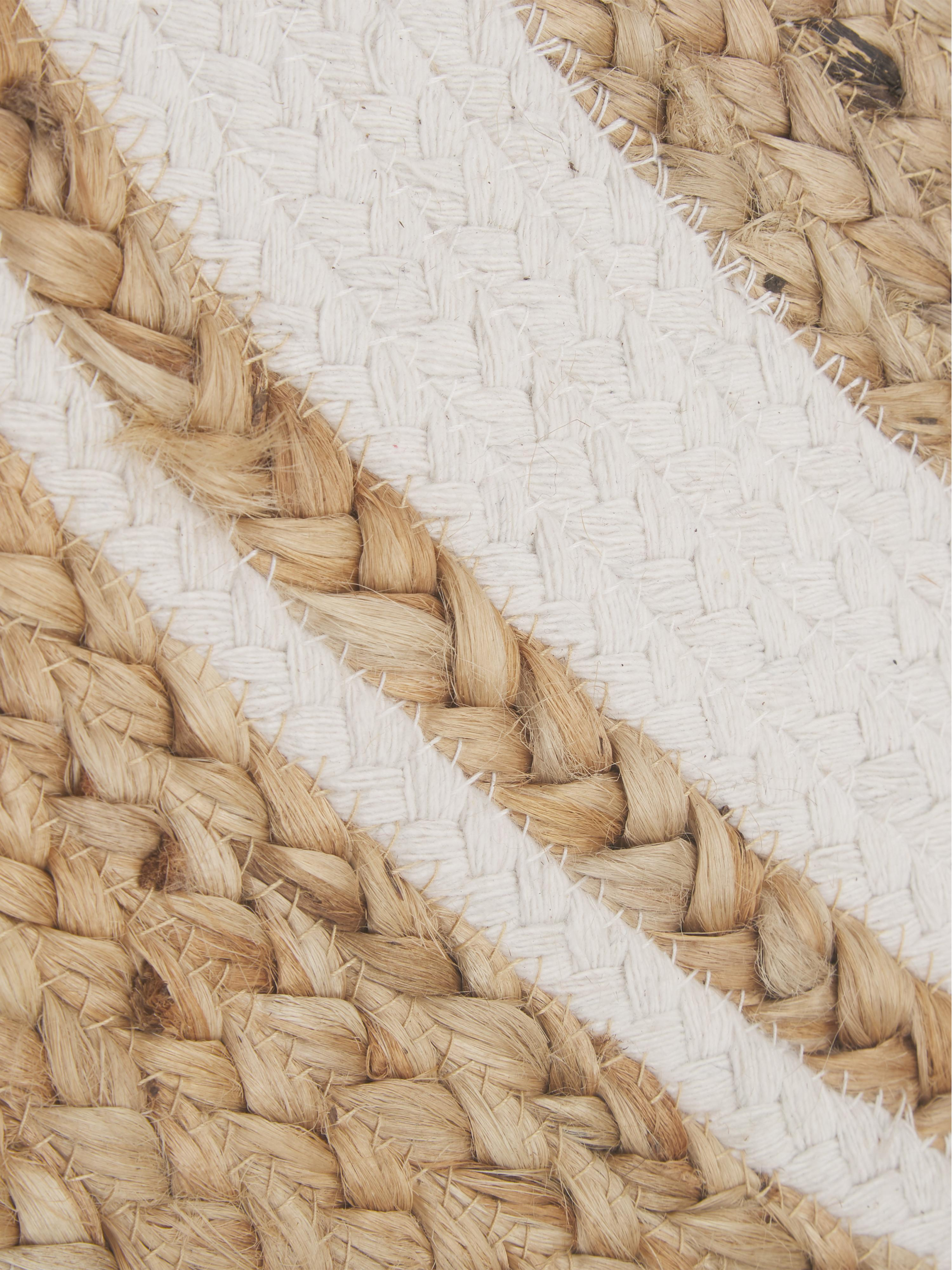 Ręcznie wykonany dywan z juty Clover, 75 % juta, 24 % bawełna, 1 % poliester, Beżowy, biały, Ø 120 cm (Rozmiar S)