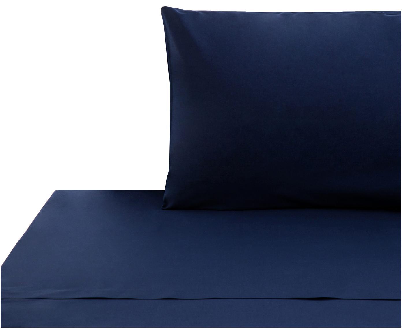 Set lenzuola in cotone ranforce Lenare 2 pz, Tessuto: Renforcé, Fronte e retro: blu scuro, 150 x 290 cm