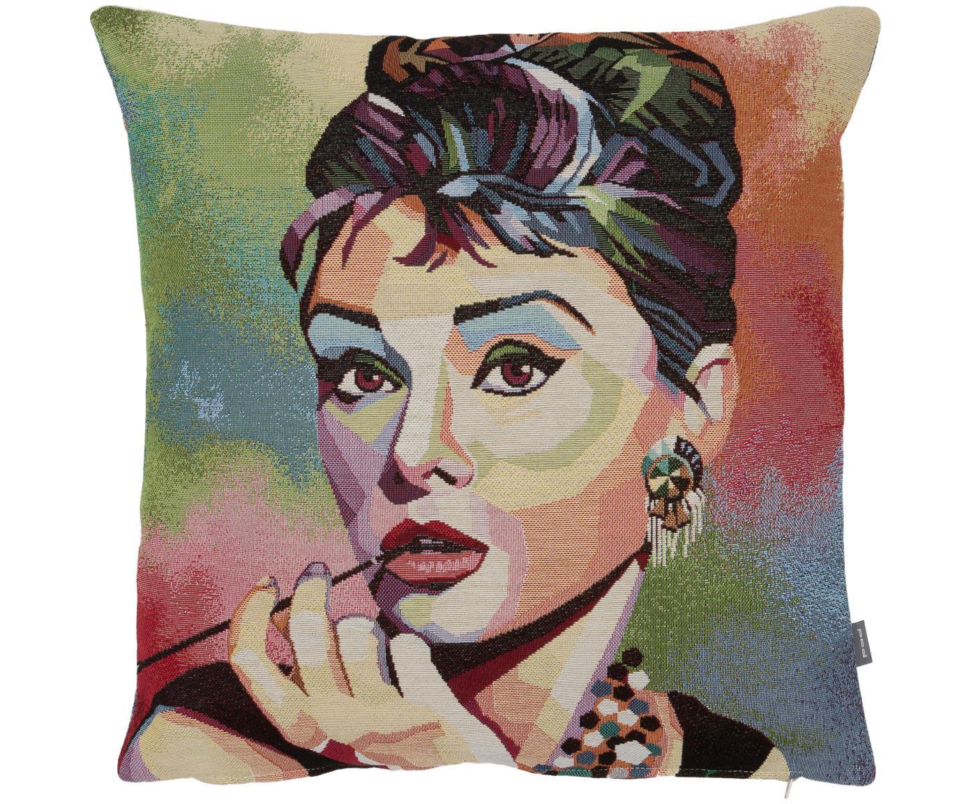 Poszewka na poduszkę Audrey Hepburn, 50% bawełna, 45% poliester, 5%poliakryl, Wielobarwny, S 45 x D 45 cm