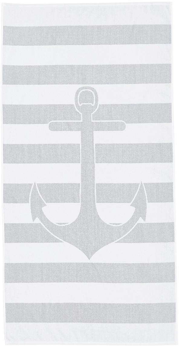 Gestreiftes Strandtuch Anon mit Anker-Motiv, 100% Baumwolle leichte Qualität 380 g/m², Grau, Weiß, 80 x 160 cm
