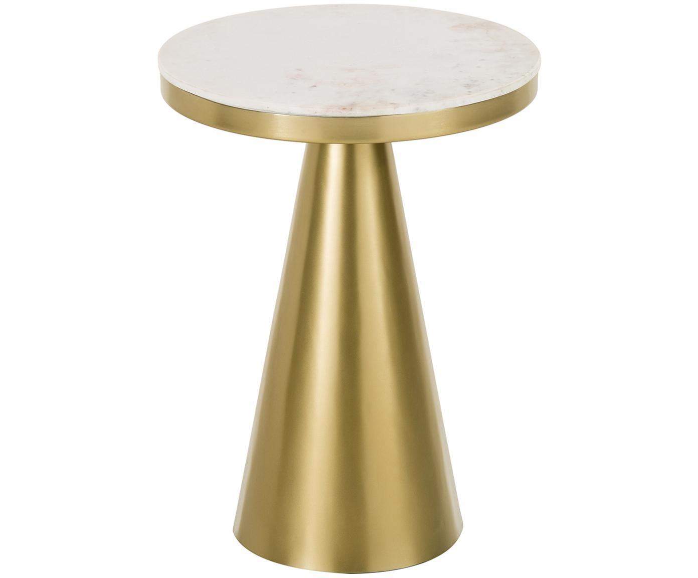 Tavolino rotondo in marmo Zelda, Piano d'appoggio: marmo, Struttura: metallo rivestito, Bianco-grigiastro marmo, dorato, Ø 41 x Alt. 54 cm