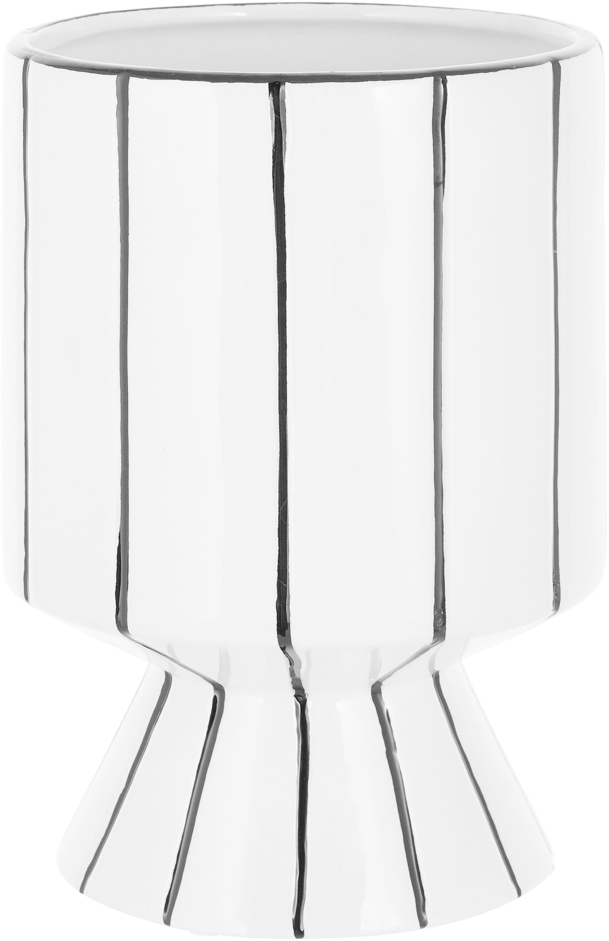 Portavaso in terracotta Reno, Terracotta, Bianco, nero, Ø 14 x Alt. 20 cm