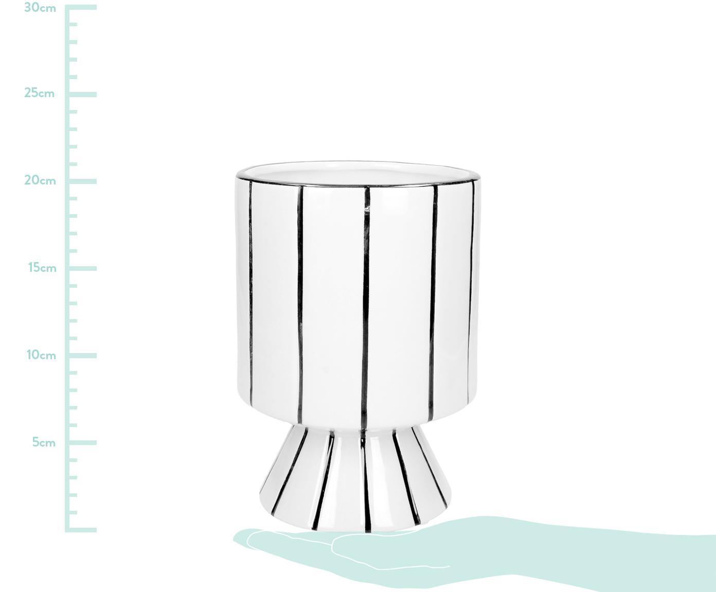 Osłonka na doniczkę Reno, Kamionka, Biały, czarny, Ø 14 x W 20 cm