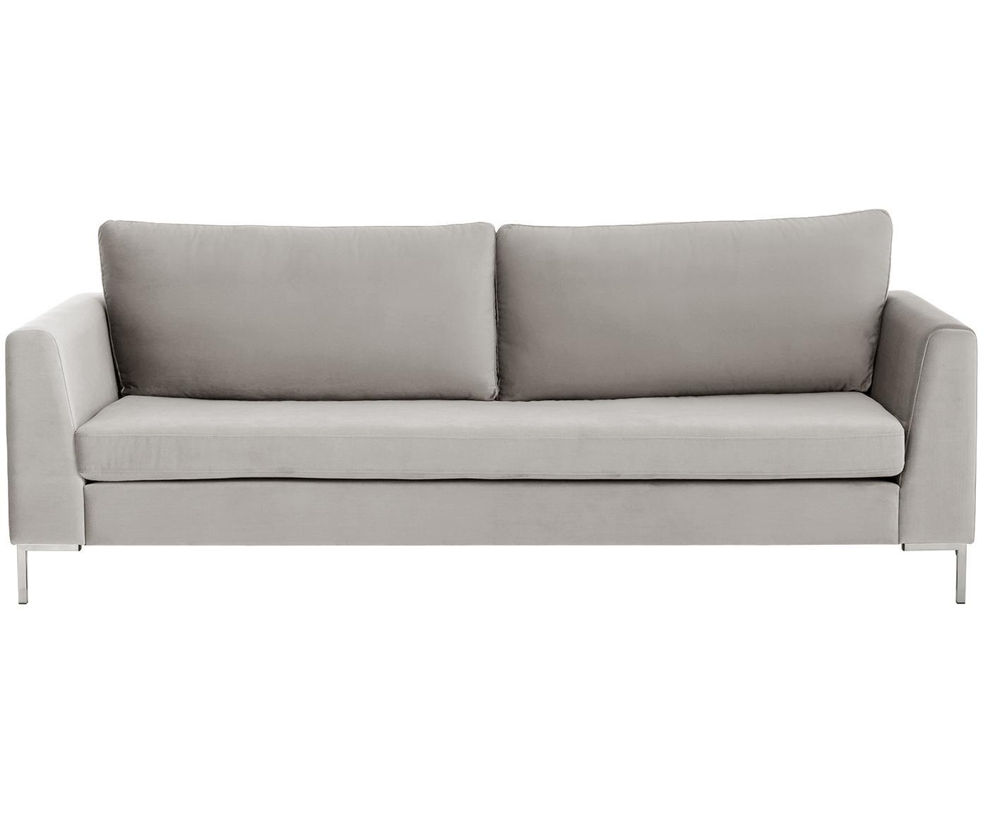 Sofa z aksamitu Luna (3-osobowa), Tapicerka: aksamit (poliester) 8000, Stelaż: lite drewno bukowe, Nogi: metal galwanizowany, Aksamitny beżowy, srebrny, S 230 x G 95 cm