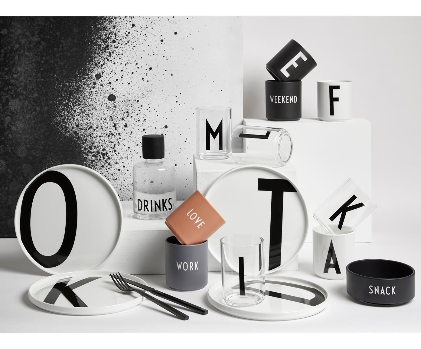 Design Becher Personal mit Buchstaben (Varianten von A bis Z), Fine Bone China (Porzellan), Weiß, Schwarz, Becher A