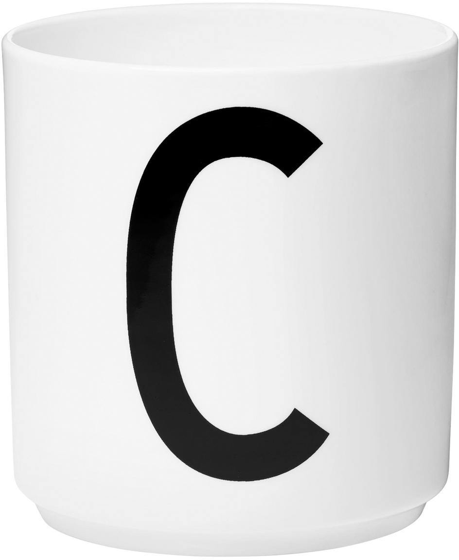 Design Becher Personal mit Buchstaben (Varianten von A bis Z), Fine Bone China (Porzellan) Fine Bone China ist ein Weichporzellan, das sich besonders durch seinen strahlenden, durchscheinenden Glanz auszeichnet., Weiß, Schwarz, Becher C