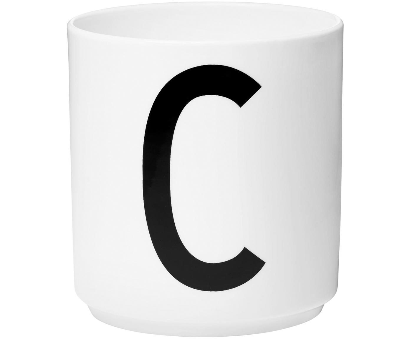 Design Becher Personal mit Buchstaben (Varianten von A bis Z), Fine Bone China, Weiß, Schwarz, Becher C