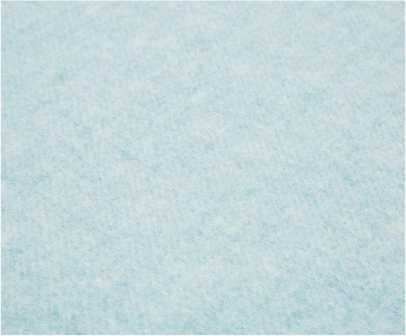 Pled z wełny z frędzlami Patriciu, 100% wełna, Turkusowy, 130 x 170 cm