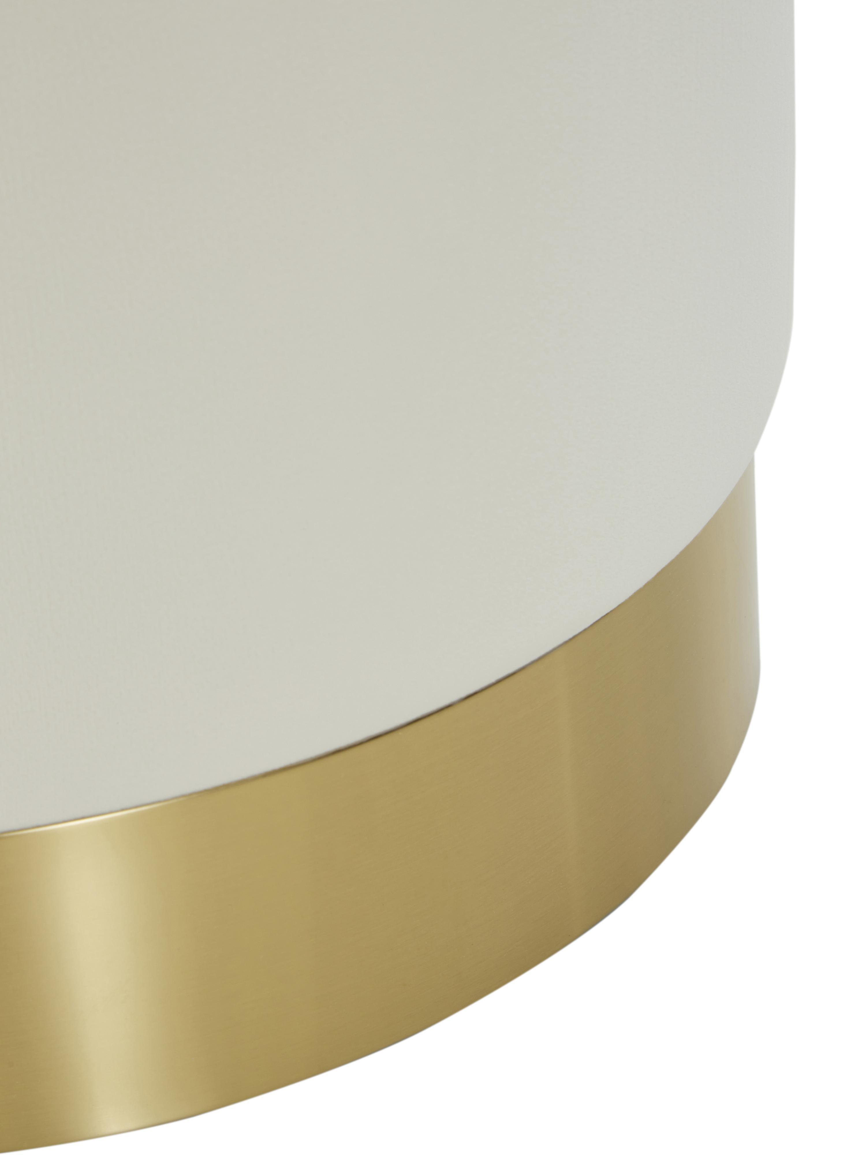 Puf z aksamitu Orchid, Tapicerka: aksamit (poliester) 1500, Tapicerka: kremowobiały Noga: odcienie złotego, Ø 38 x W 38 cm