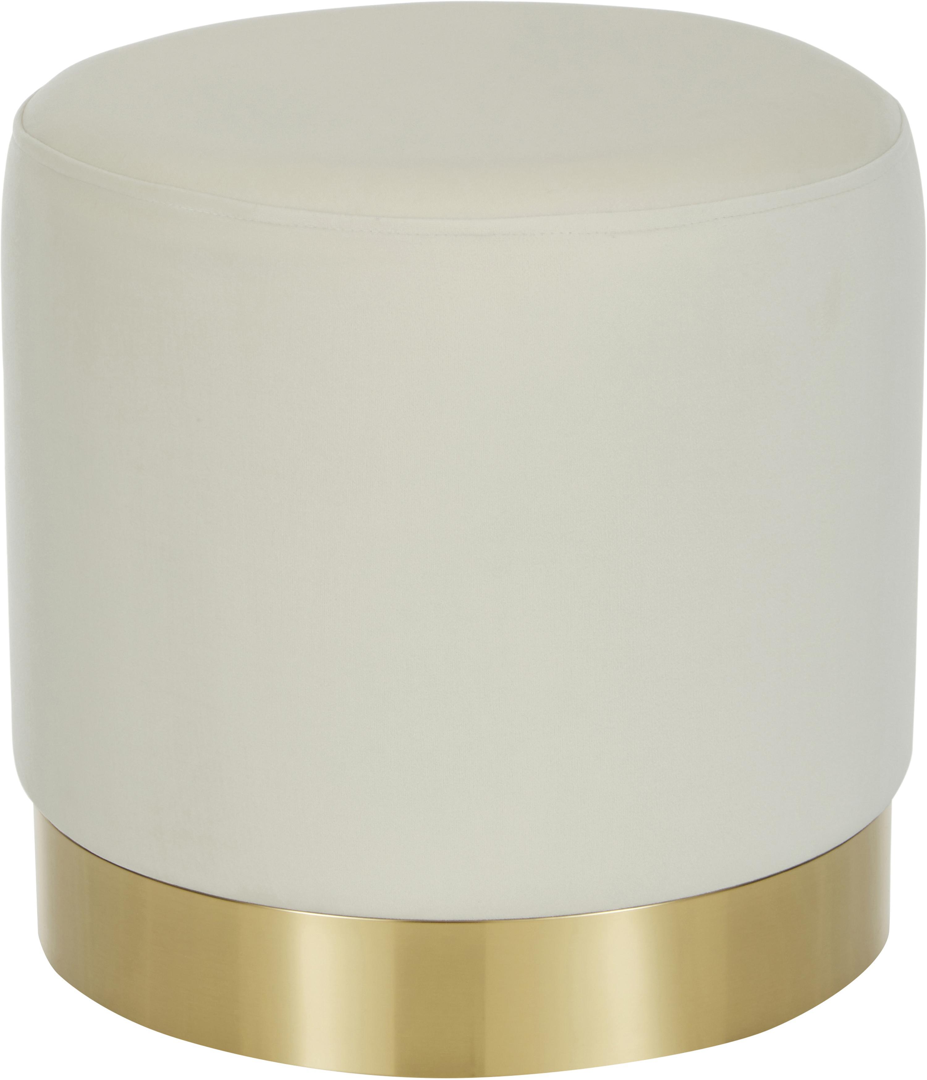 Pouf in velluto Orchid, Rivestimento: velluto (poliestere) 25.0, Cornice: compensato, Rivestimento: bianco Base: dorato, Ø 38 x Alt. 38 cm