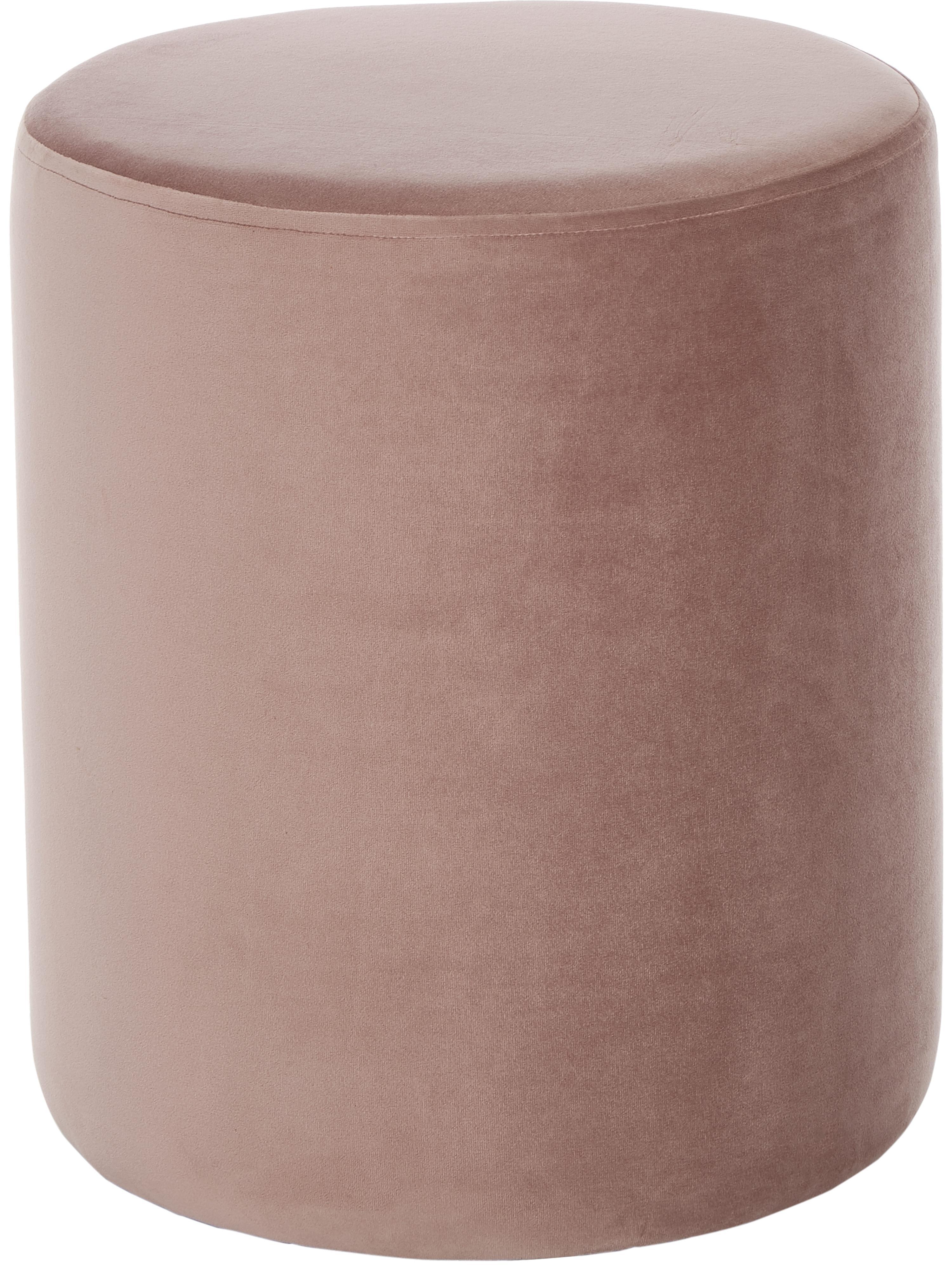 Puf de terciopelo Daisy, Tapizado: terciopelo (poliéster) 15, Estructura: tablero de fibras de dens, Rosa, Ø 40 x Al 46 cm
