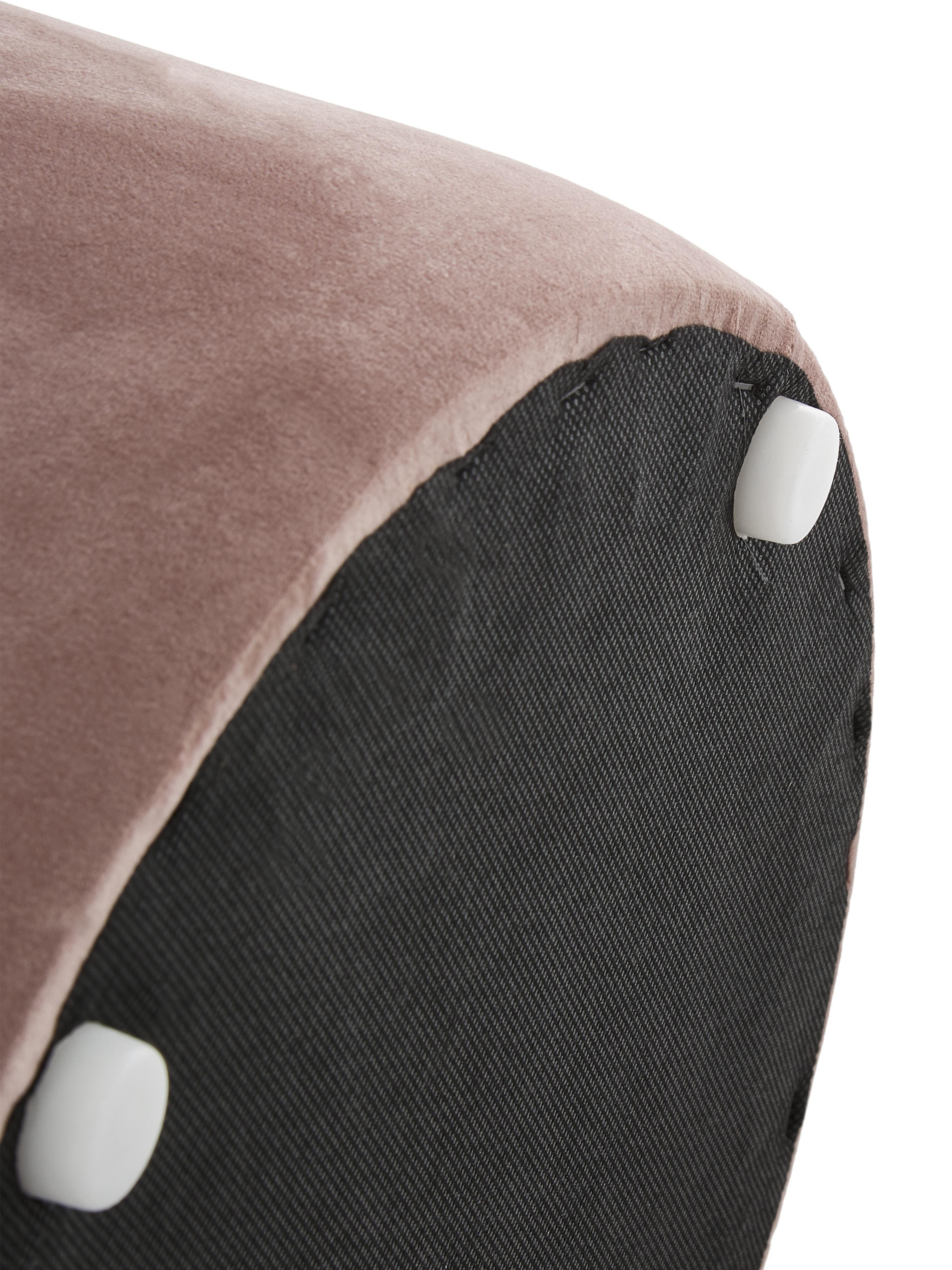 Puf z aksamitu Daisy, Tapicerka: aksamit (poliester), Tapicerka: pianka, 28 kg/m³, Aksamitny blady różowy, Ø 40 x W 46 cm