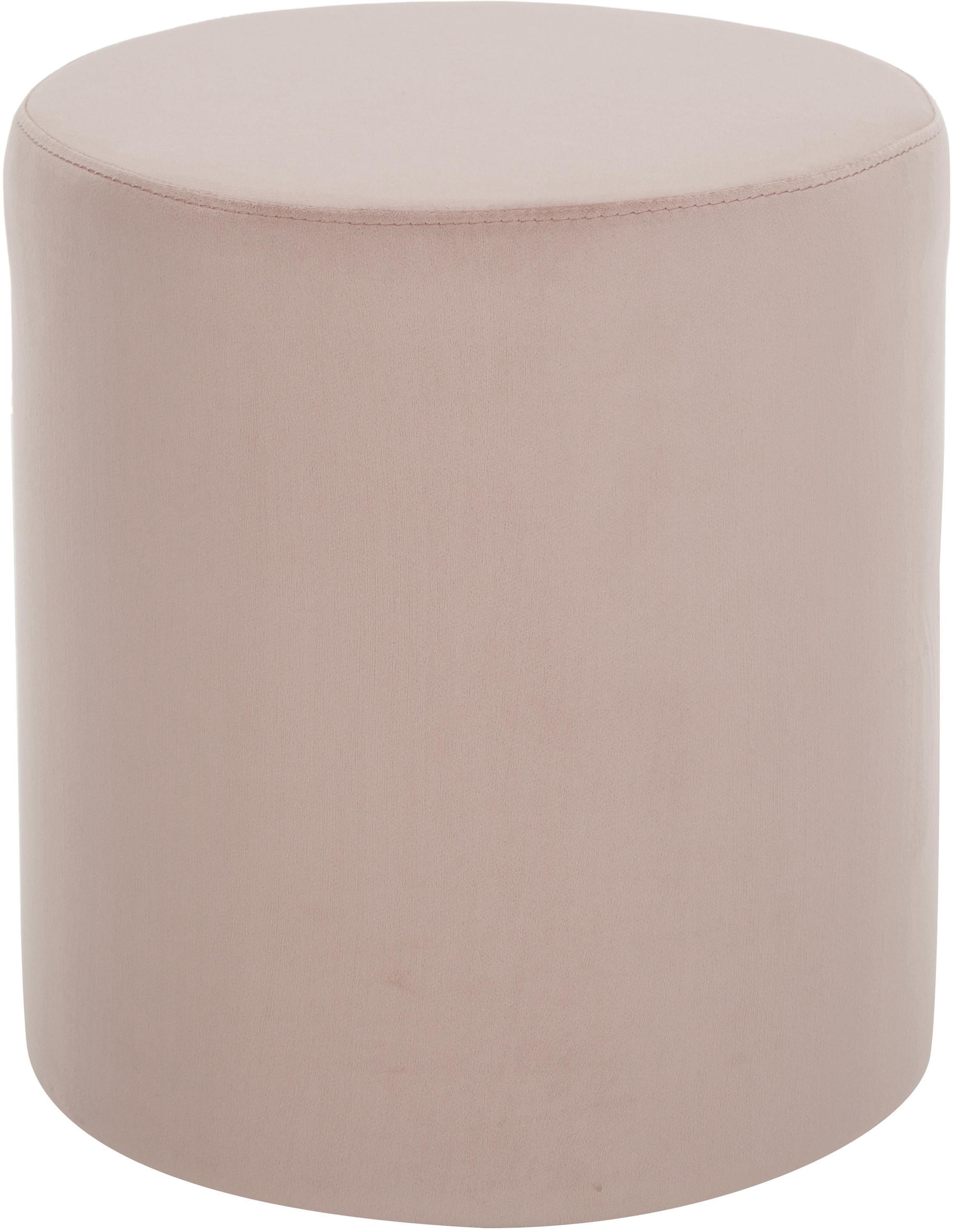 Puf z aksamitu Daisy, Tapicerka: aksamit (poliester) Dzięk, Aksamitny blady różowy, ∅ 38 x W 45 cm