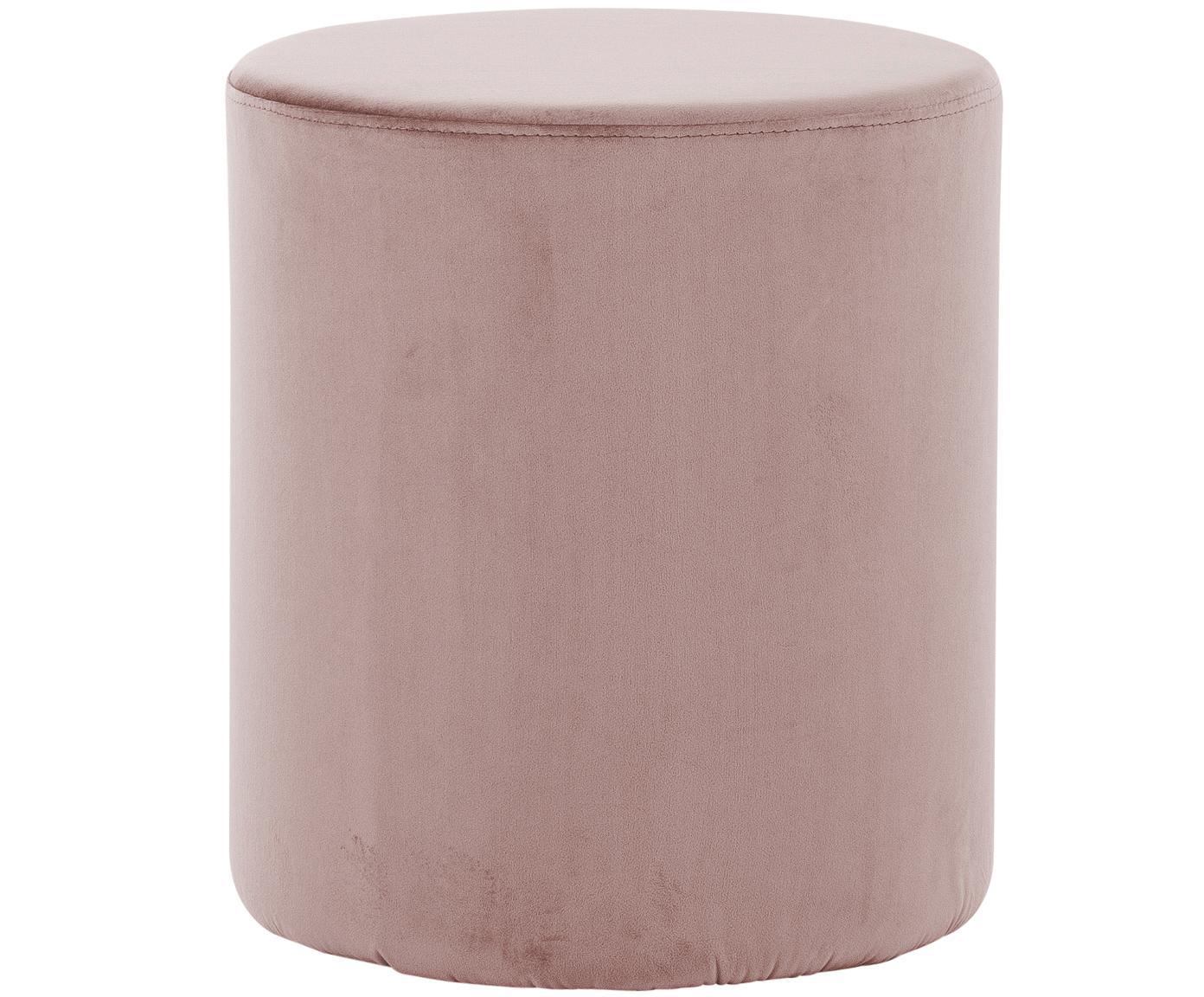 Fluwelen poef Daisy, Bekleding: fluweel (polyester), Frame: MDF, Roze, Ø 38 cm