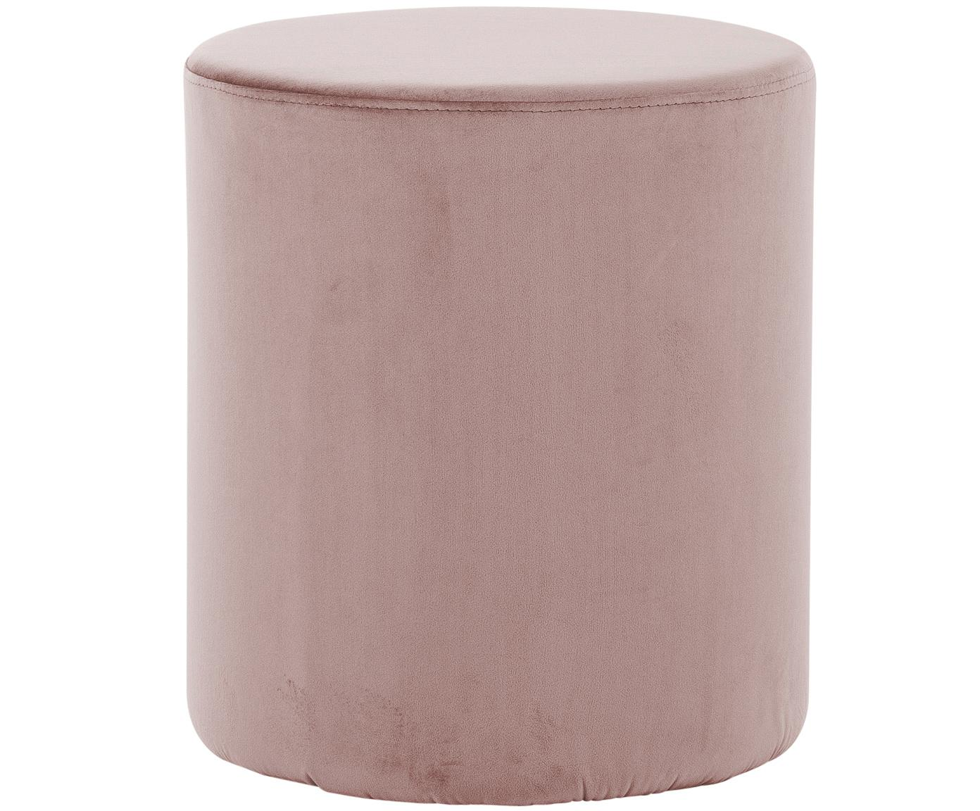 Samt-Hocker Daisy, Bezug: Samt (Polyester) 15.000 S, Rahmen: Mitteldichte Holzfaserpla, Rosa, Ø 38 x H 46 cm