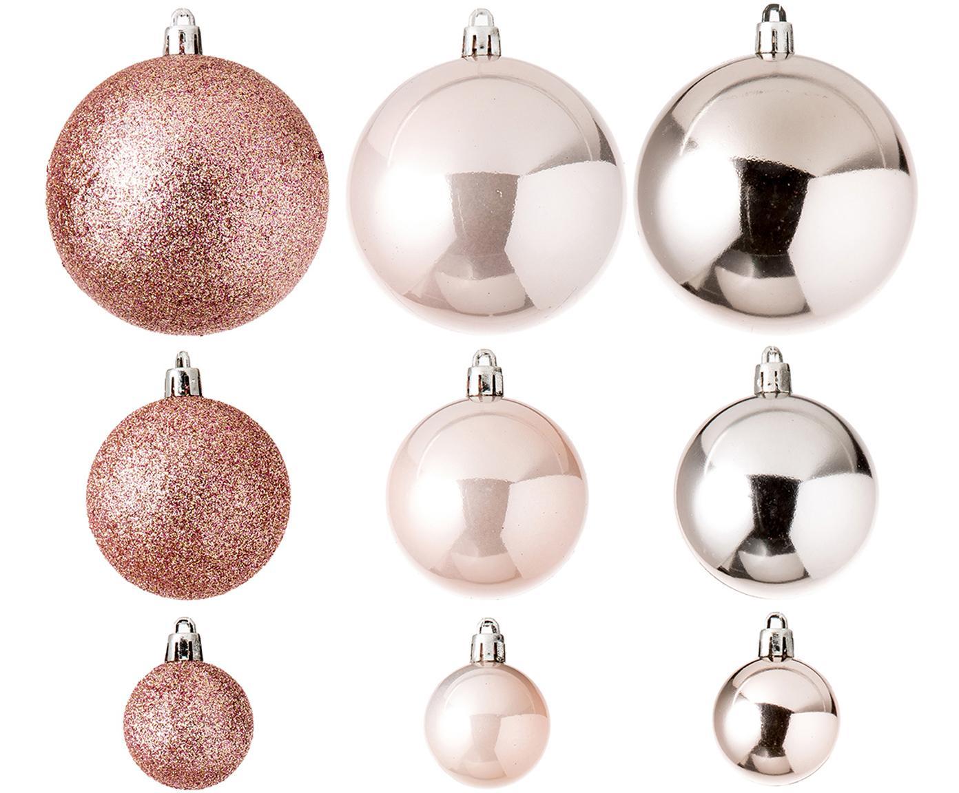 Set palline di Natale Silvia 46 pz, Materiale sintetico, Rosa chiaro, Diverse dimensioni