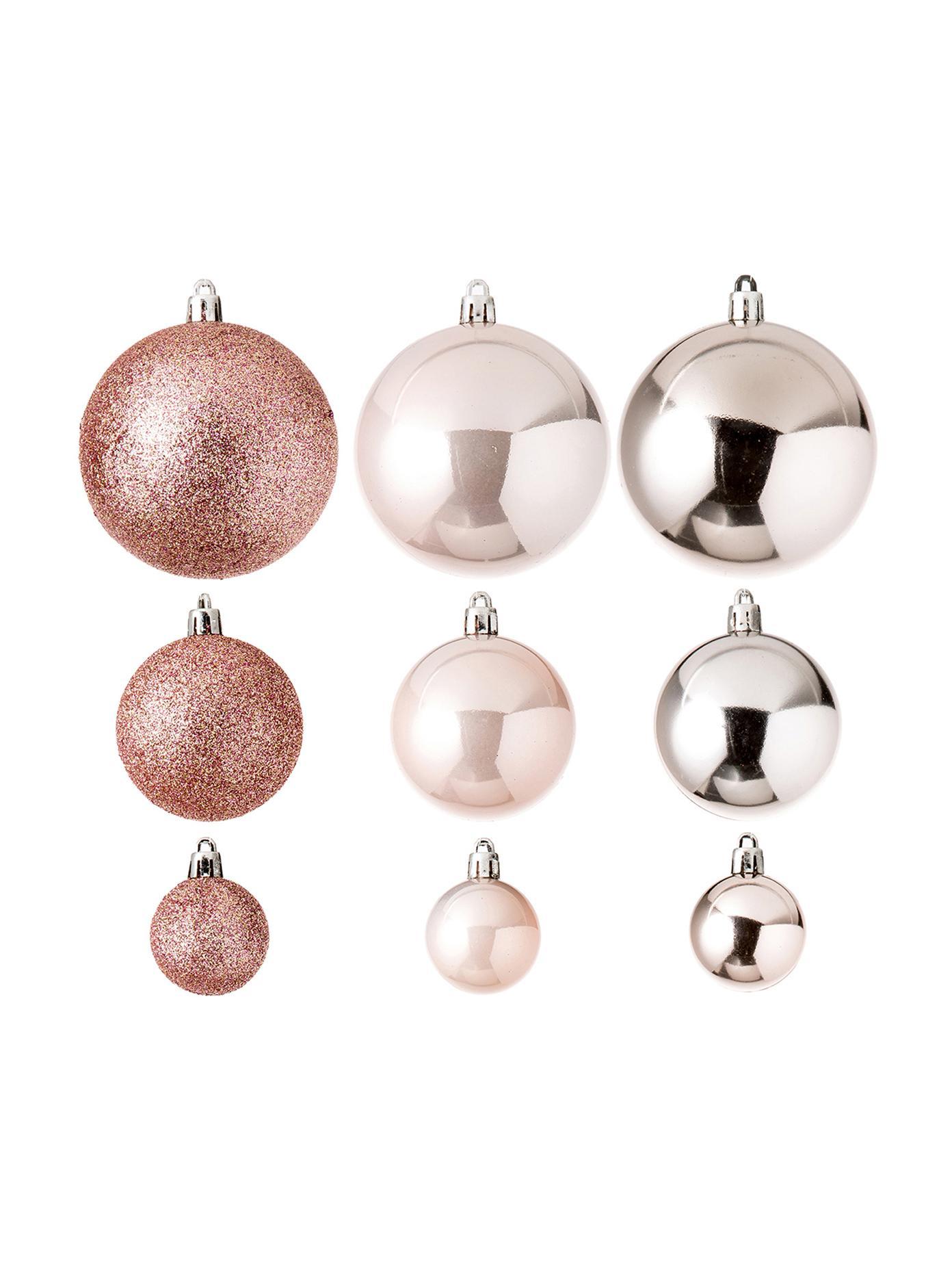 Weihnachtskugel-Set Silvia, 46-tlg., Kunststoff, Helles Rosa, Sondergrößen