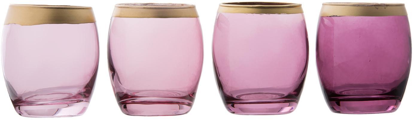 Set de portavelas Jolina, 4pzas., Vidrio, pintado, Portavelas: violeta, transparente Borde: dorado, Ø 8 x Al 9 cm