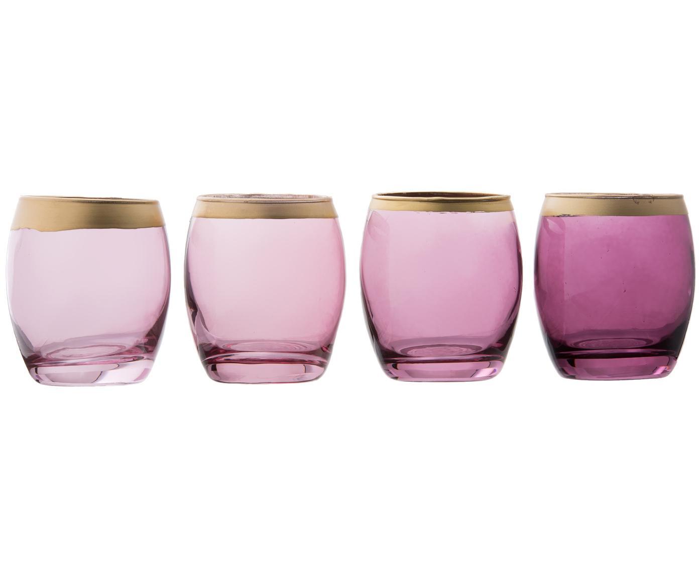 Komplet świeczników na podgrzewacze Jolina, 4 elem., Szkło lakierowane, Świecznik na podgrzewacze: odcienie fioletowego, transparentny Krawędź: odcienie, Ø 8 x W 9 cm