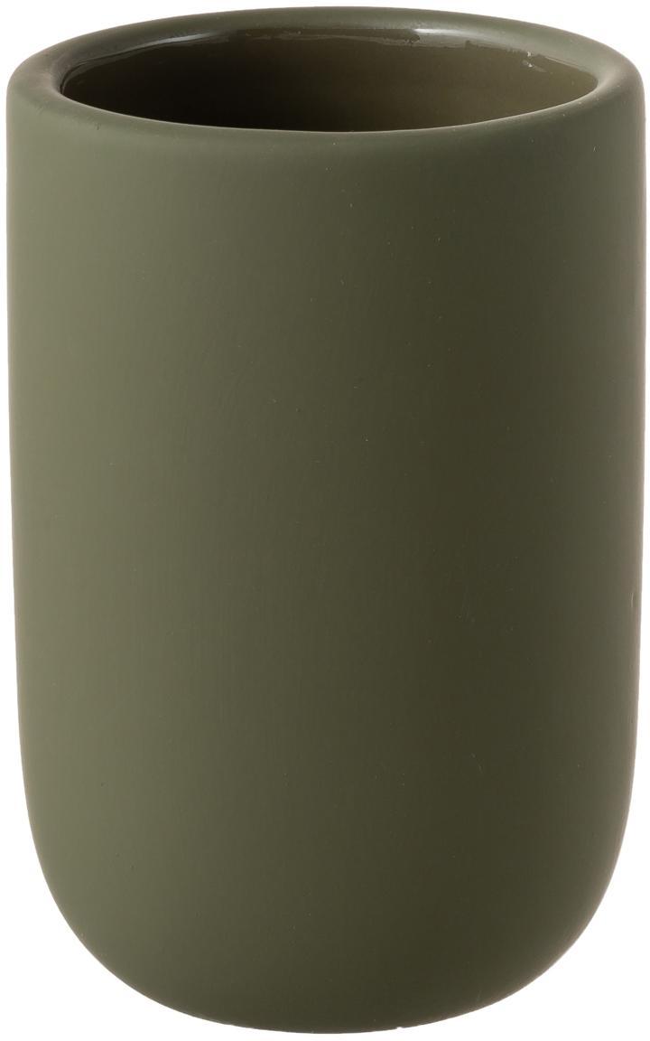 Porta spazzolini in ceramica Lotus, Ceramica, Verde oliva, Ø 7 x Alt. 10 cm