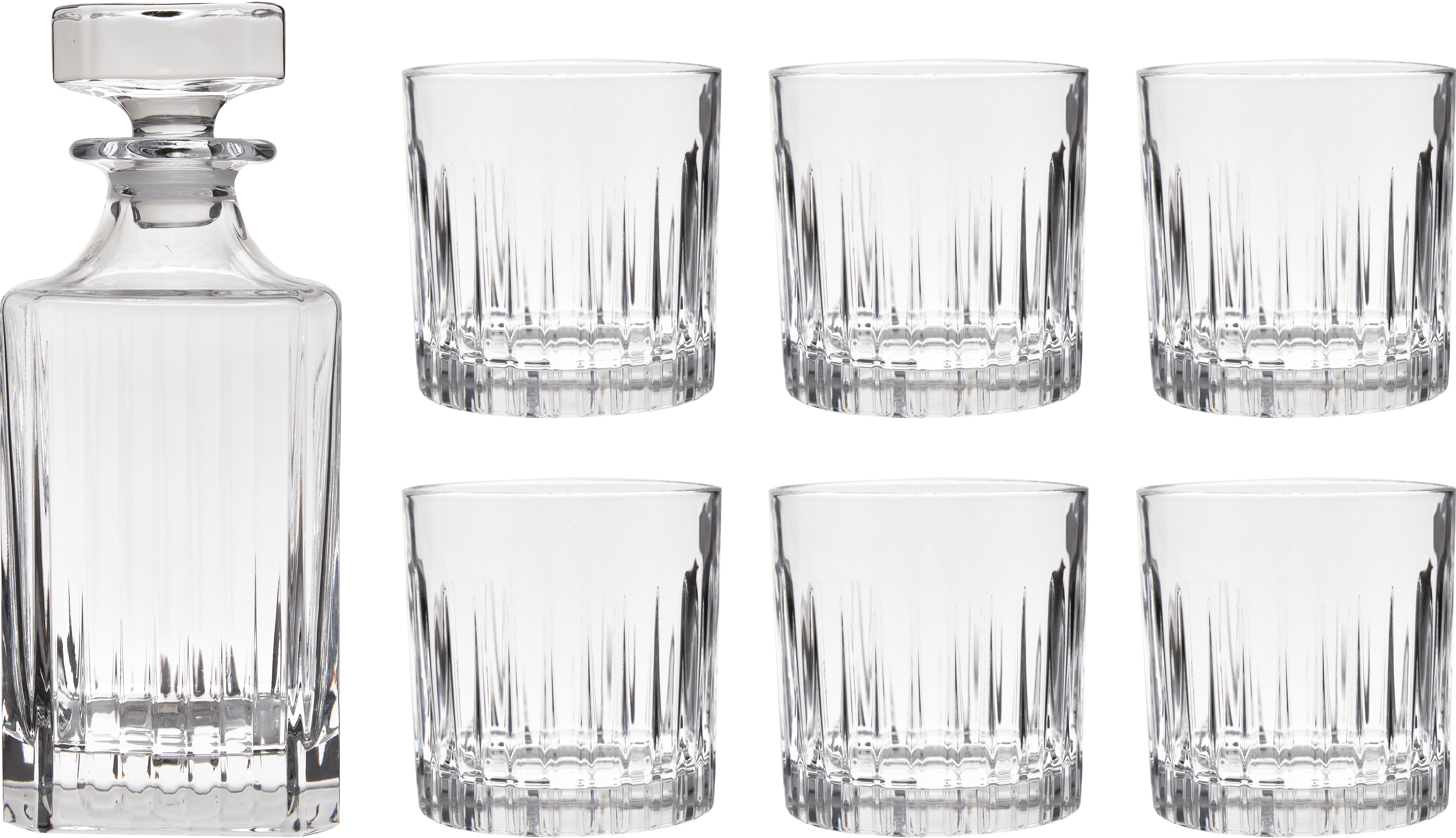 Set de whisky de cristal Timeless, 7pzas., Cristal, Transparente, Set de diferentes tamaños