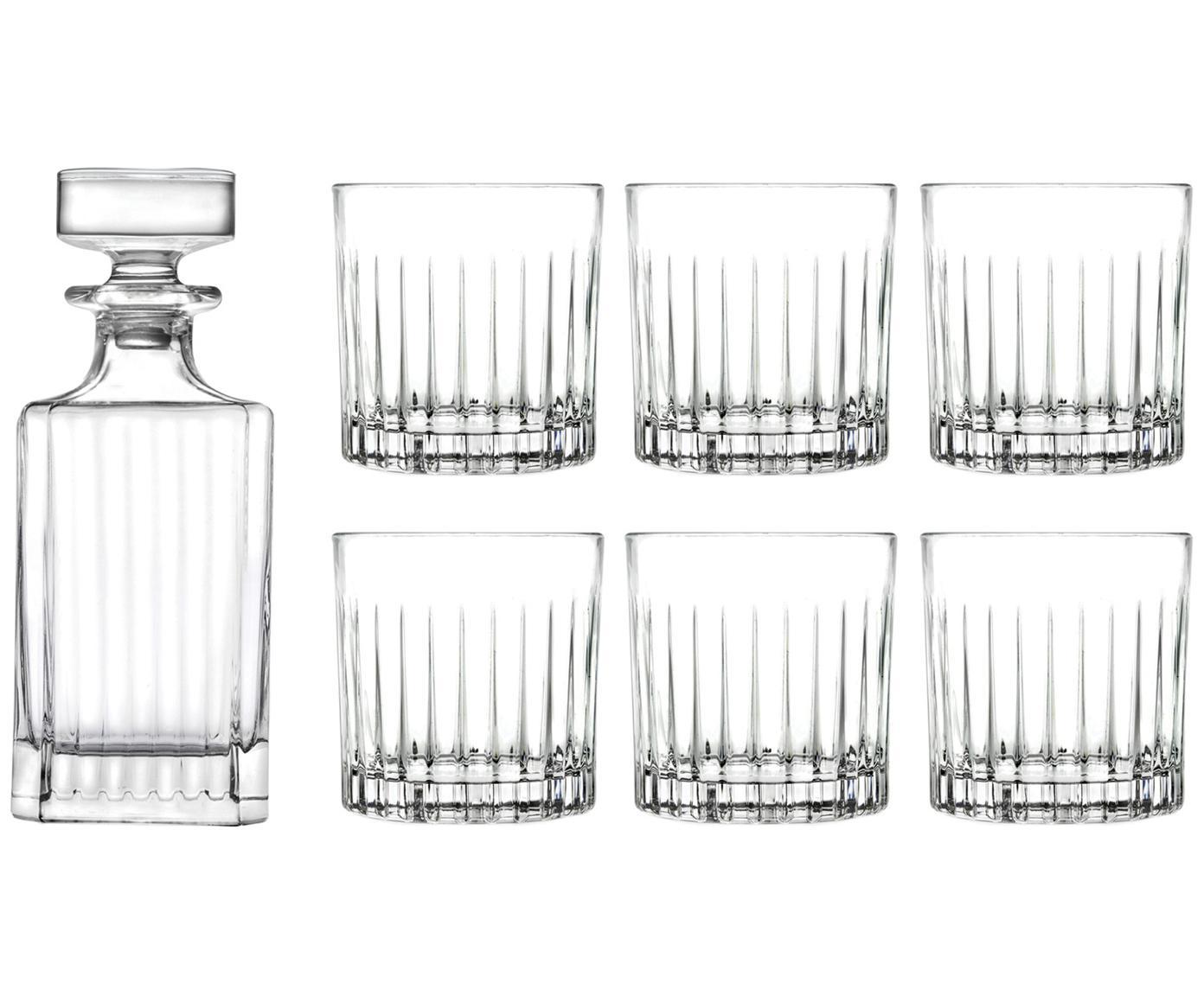 Set de whisky de cristal Timeless, 7pzas., Cristal, Transparente, Tamaños diferentes