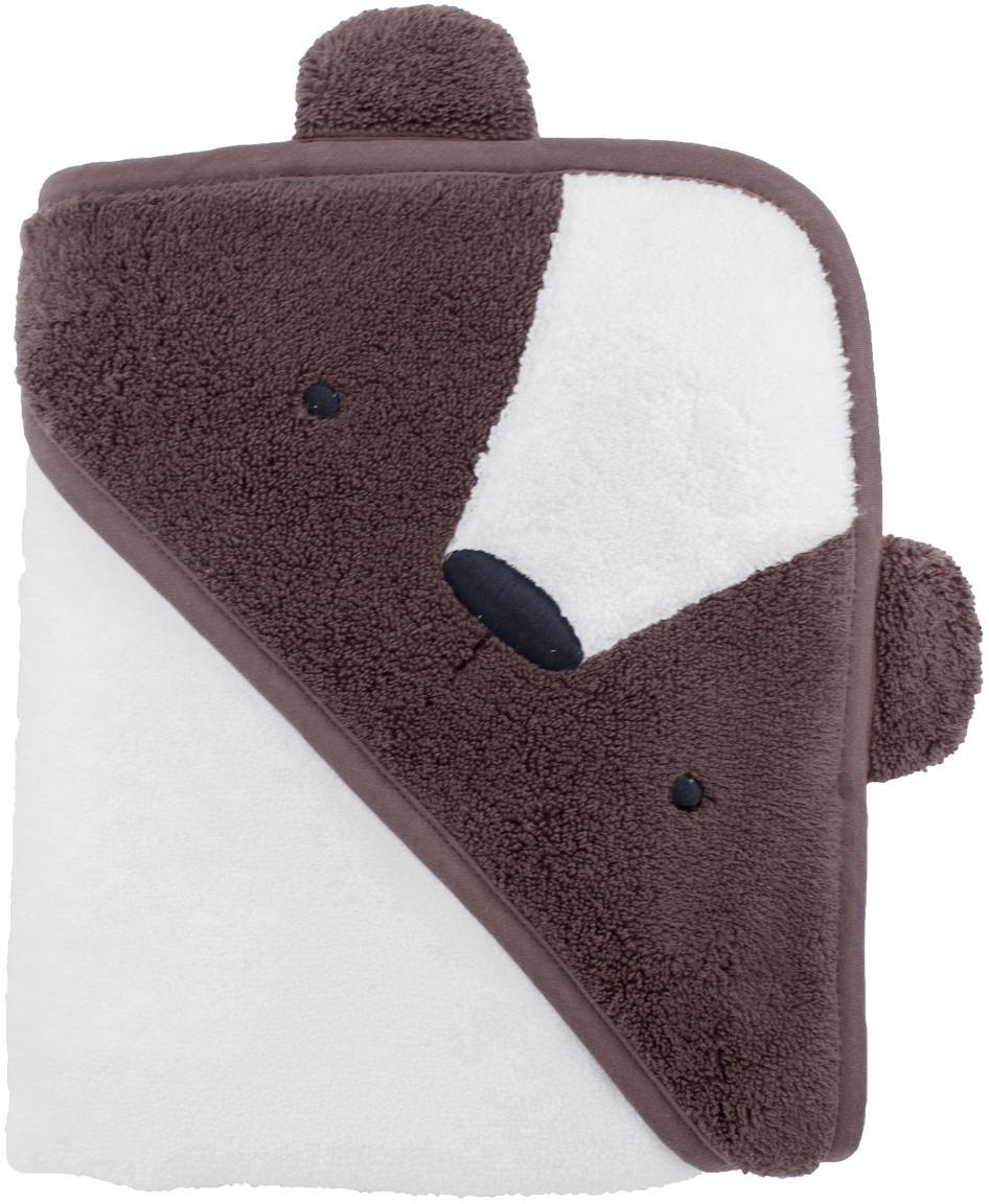 Asciugamano con cappuccio Bär, Cotone, certificato GOTS, Marrone, bianco, Larg. 85 x Lung. 85 cm