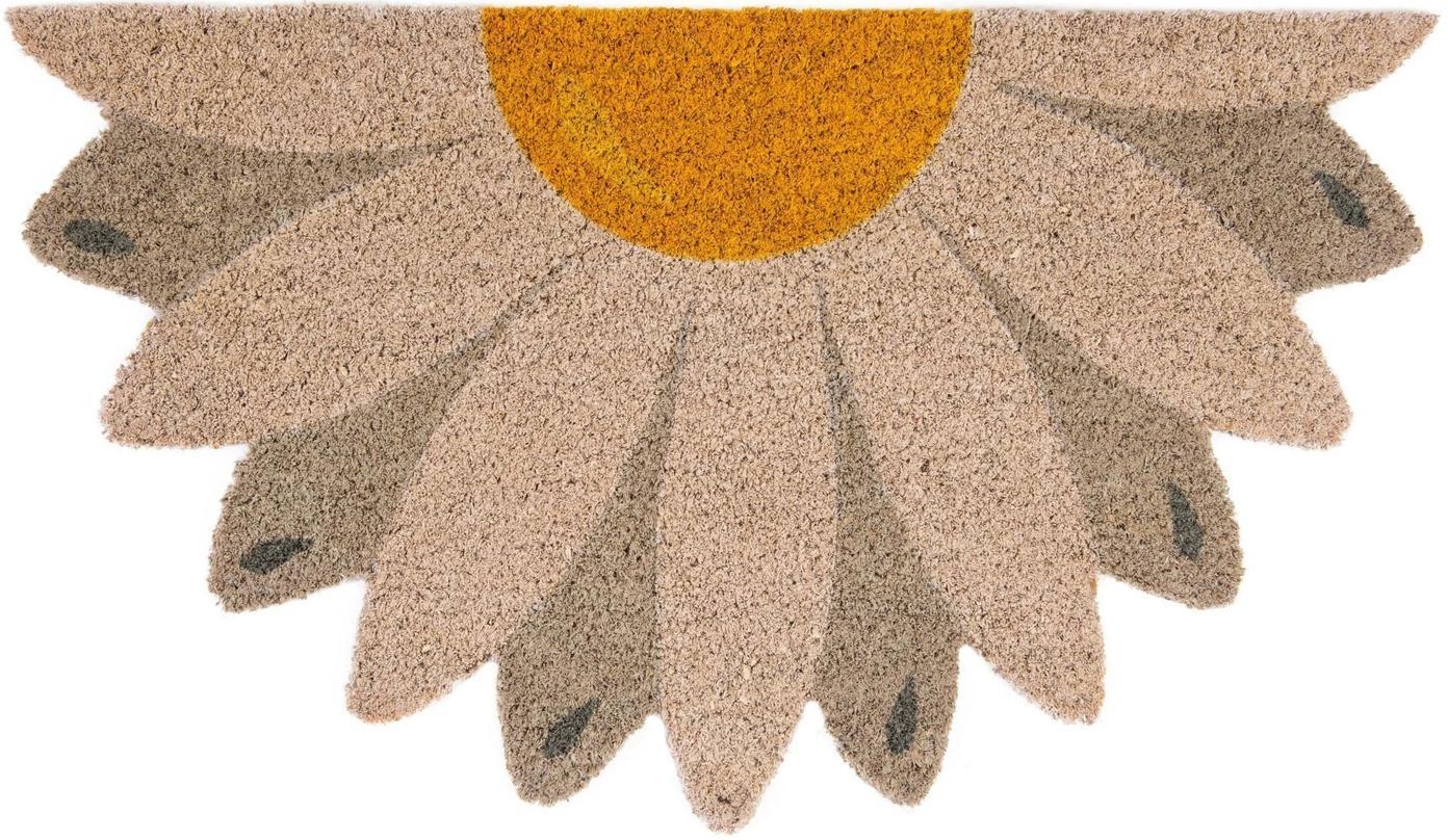 Fussmatte Daisy, Oberseite: Kokosfaser, Unterseite: PVC, Beige, Taupe, Gelb, 40 x 70 cm