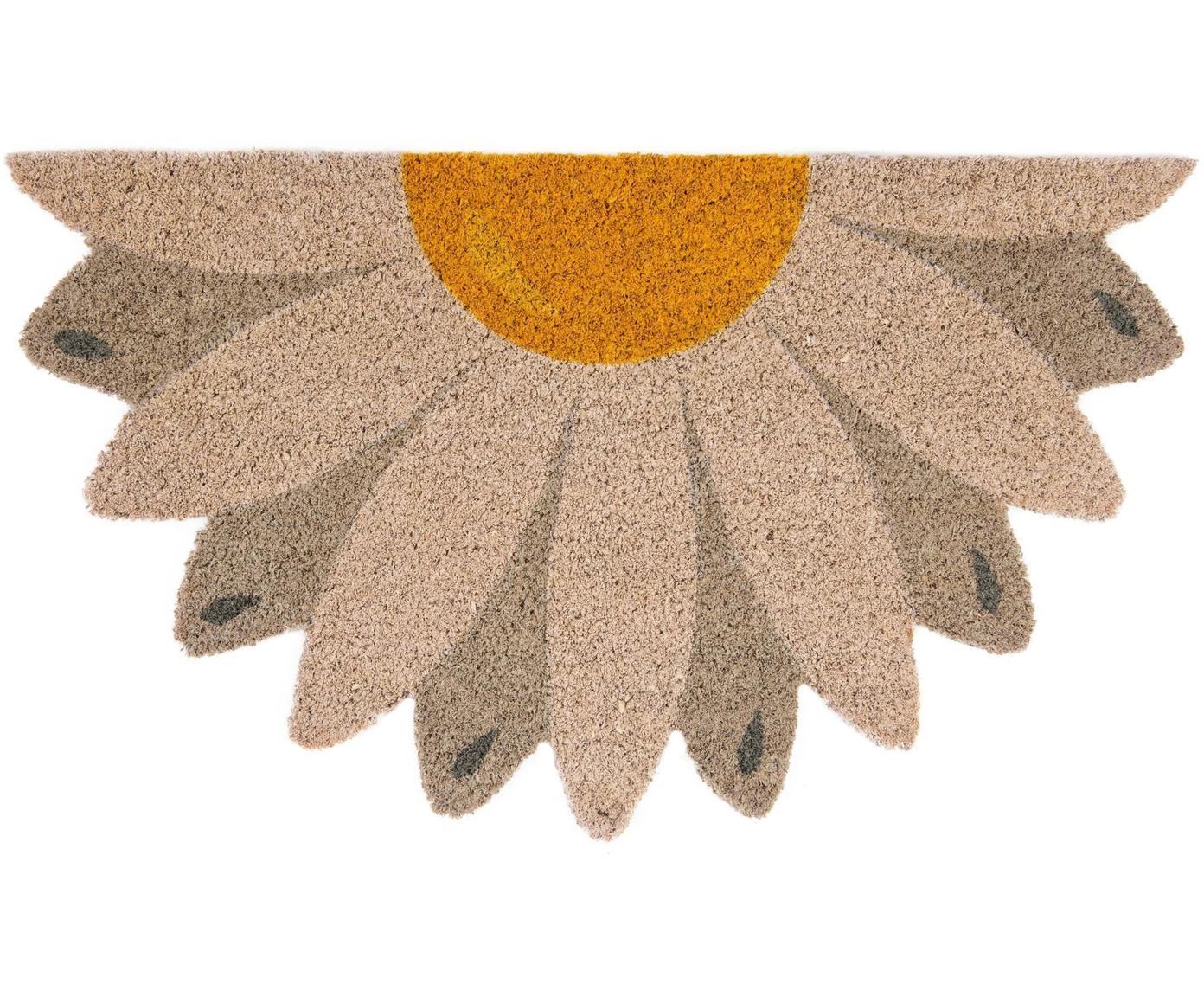 Fußmatte Daisy, Oberseite: Kokosfaser, Unterseite: PVC, Beige, Taupe, Gelb, 40 x 70 cm