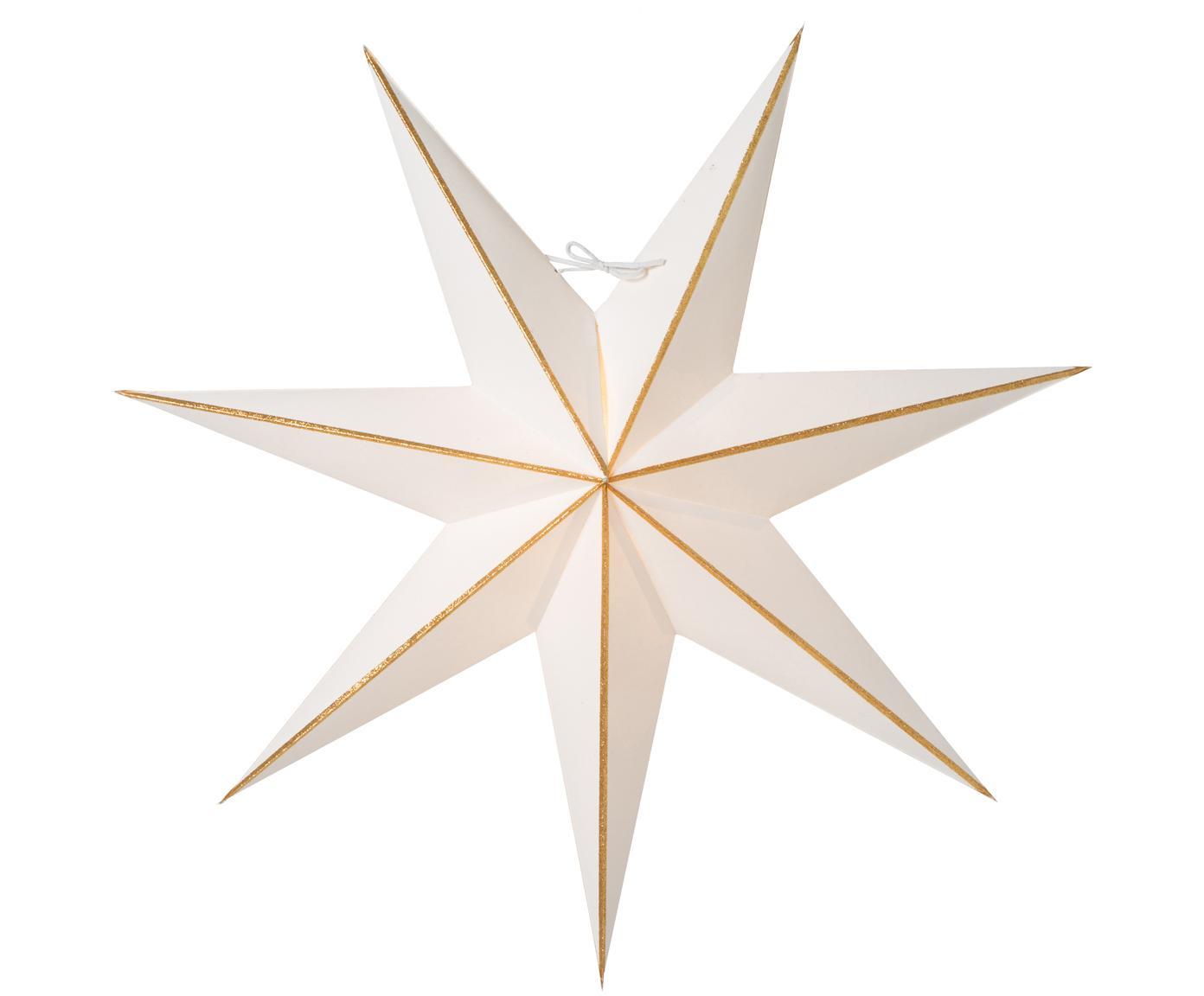 Weihnachtsstern Linje, Papier, Weiß, Goldfarben, Ø 60 cm