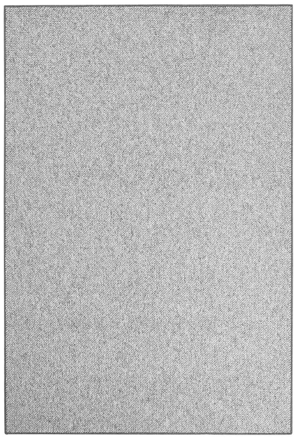 Alfombra redonda de tejido de bolitas Lyon, Parte superior: 100%polipropileno, Reverso: forro polar, Gris jaspeado, An 100 x L 140 cm (Tamaño XS)