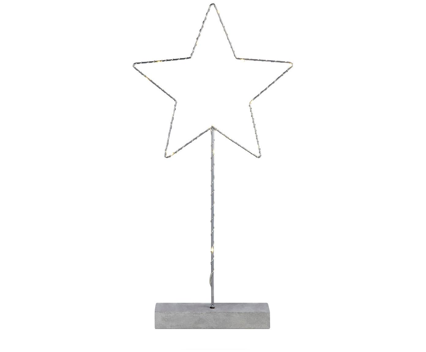 LED tafellamp Malin, Gelakt metaal, Grijs, 26 x 51 cm